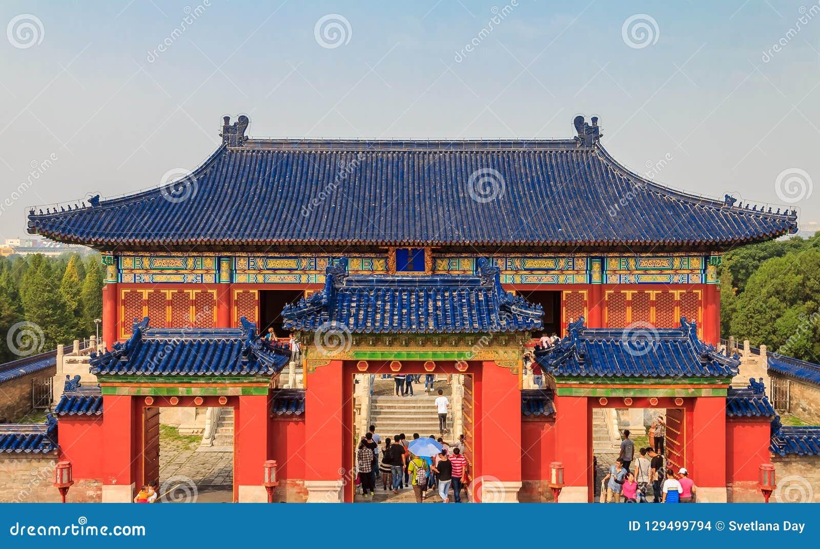 Porten i templet av kulturarvet för himmelUNESCOvärlden sitter
