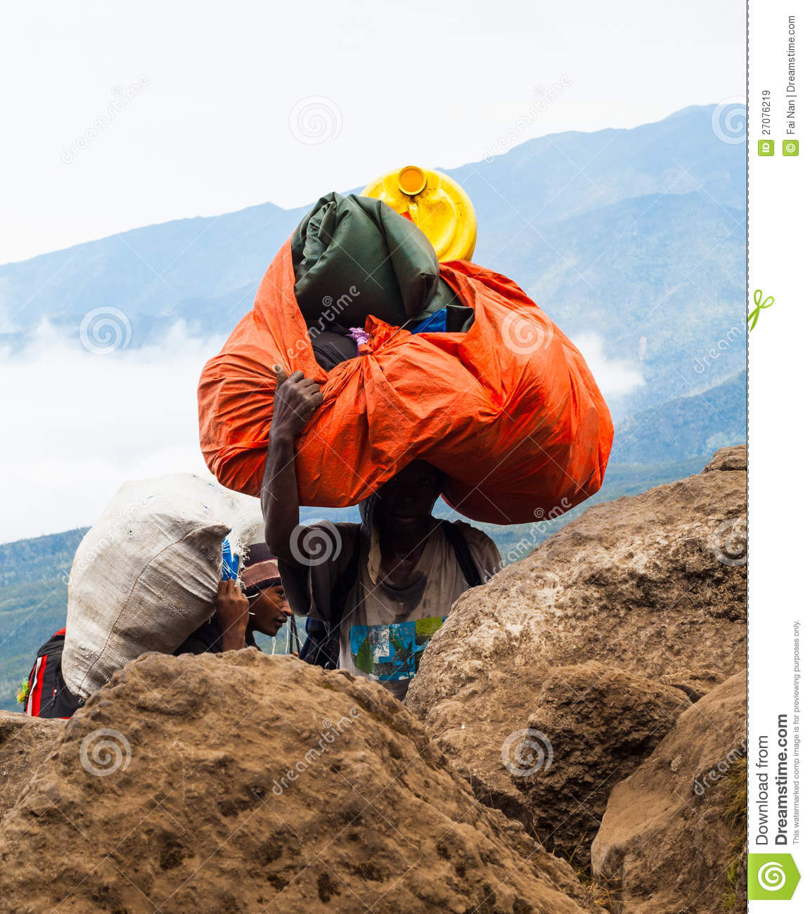 Man Carry Heavy Load In The Himalaya Editorial Image ...