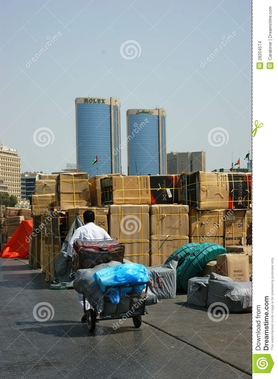 Porter driven cart with packs in Port Said