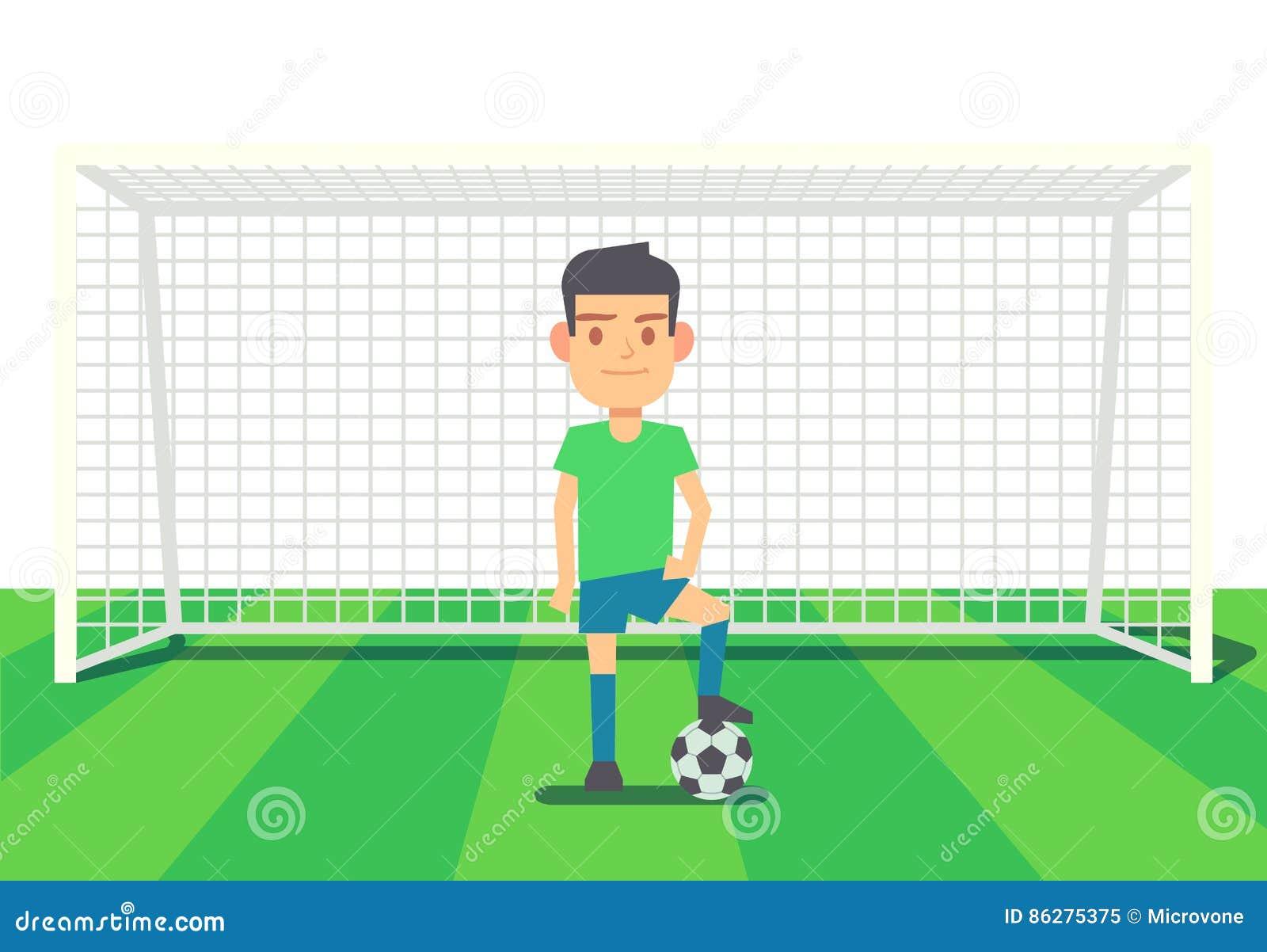 El Portero Del Fútbol Golpeó El Ejemplo Del Vector Del