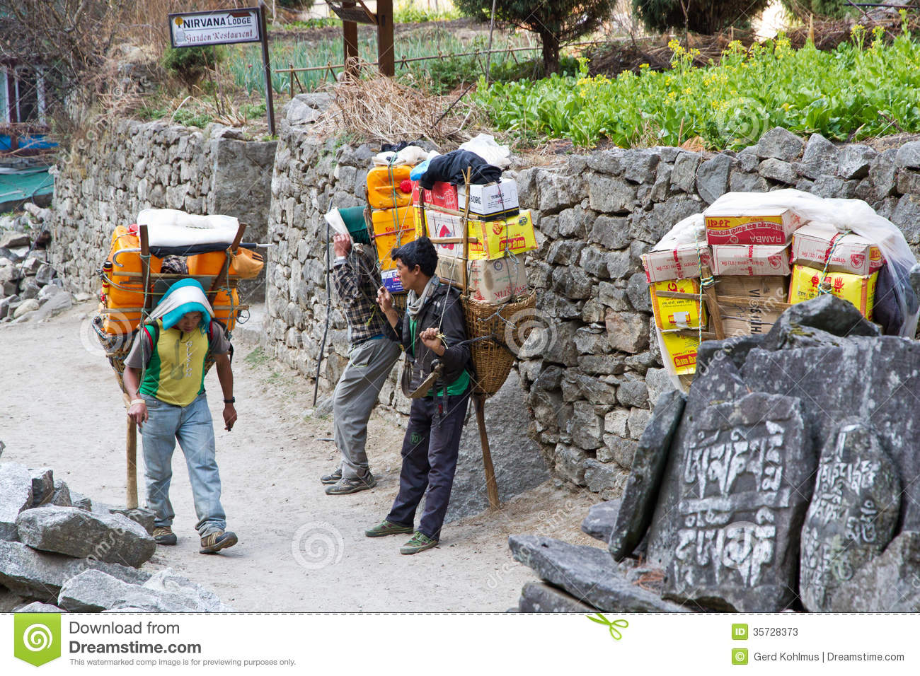 porters in nepal editorial stock photo
