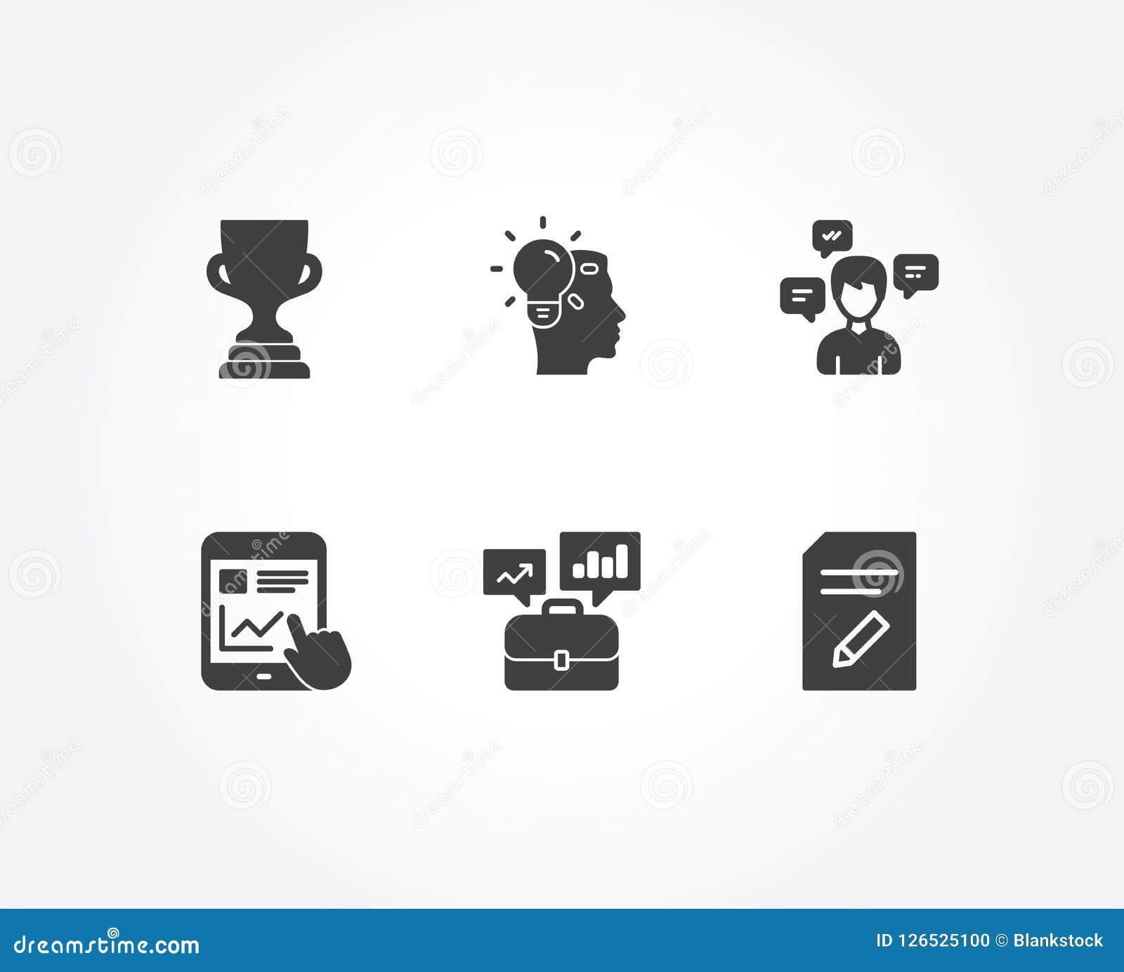 Portfólio do negócio, copo da concessão e ícones da ideia O relatório do Internet, mensagens da conversação e edita sinais do ori
