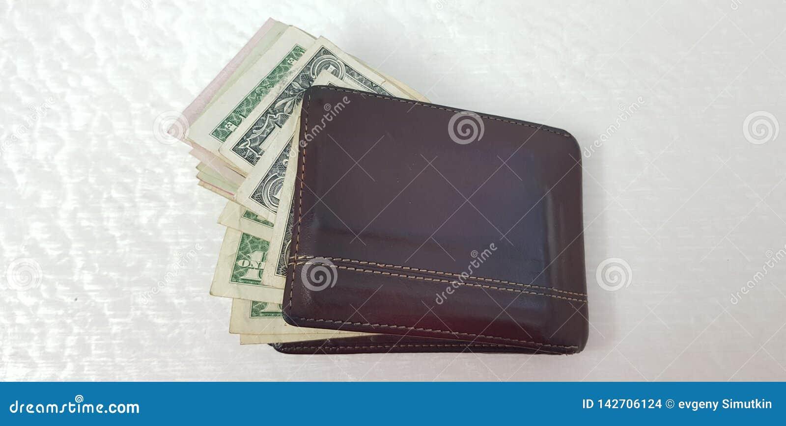 Portfel pełno różnorodni amerykańscy dolarowi banknoty odizolowywający
