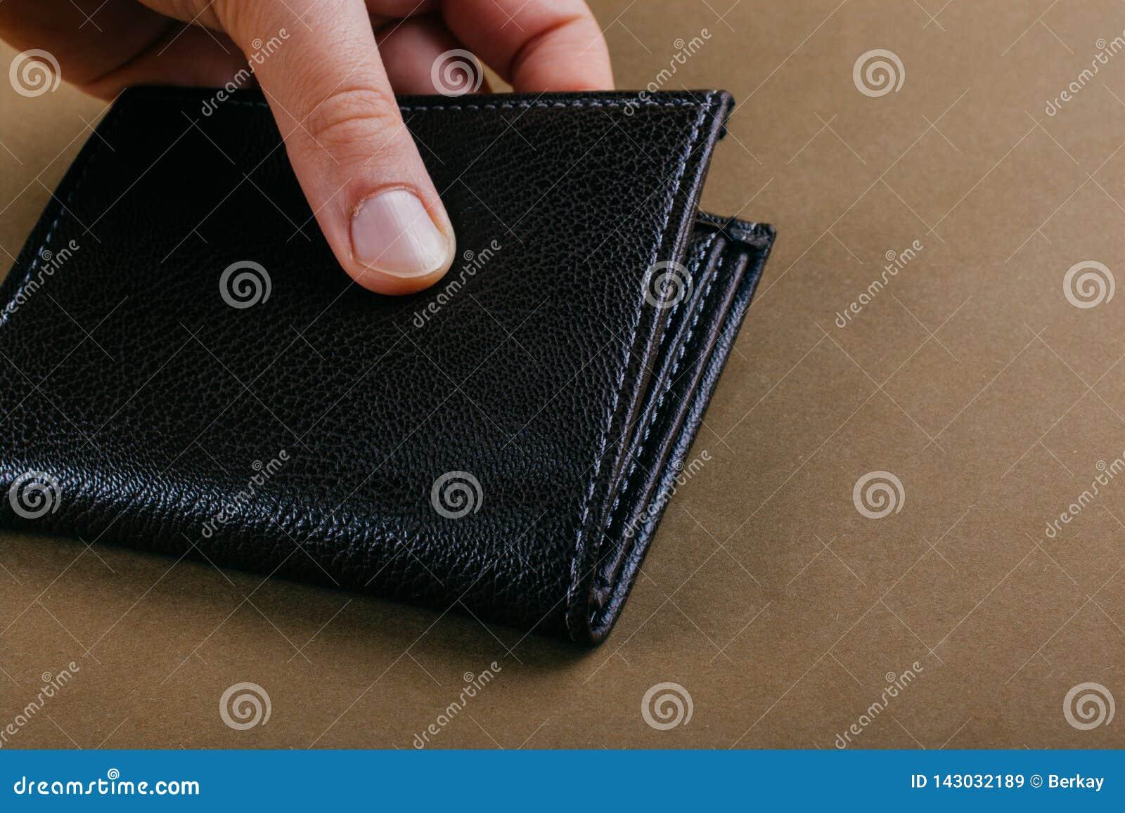 Portfel w ręka finanse i oszczędzania pojęciu