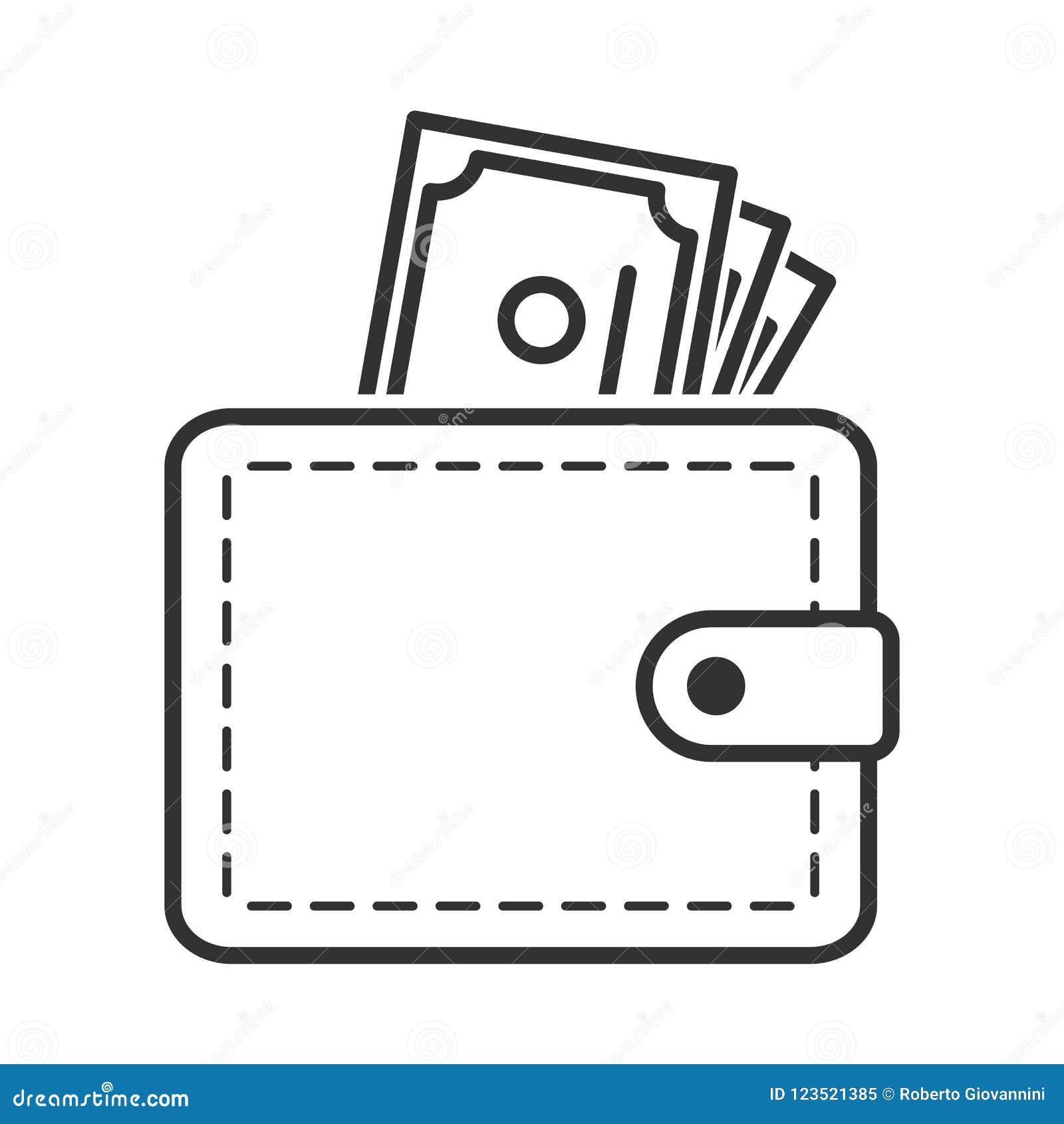 Portfla i banknotów konturu mieszkania ikona