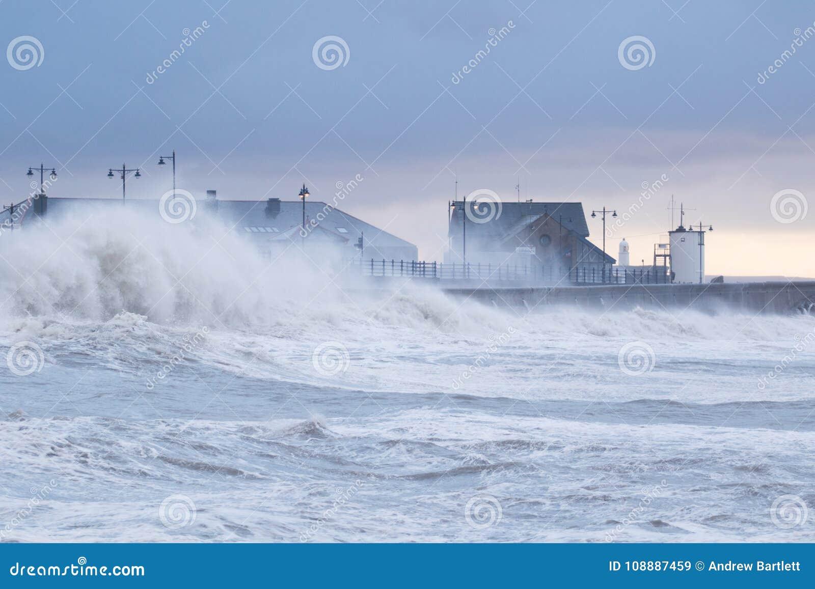 Stormy seas at Porthcawl, South Wales, UK.