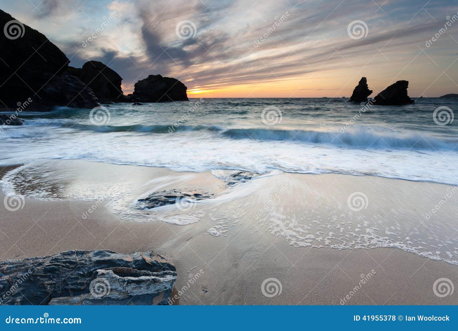 Porthcothan zatoki zmierzch
