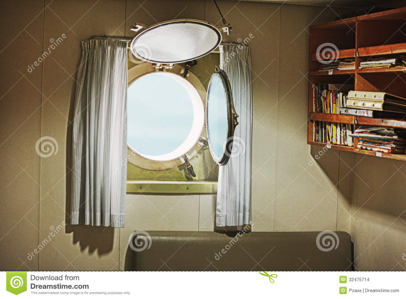 Porthole In The Cabin Of An Old Yacht Stock Photo Image