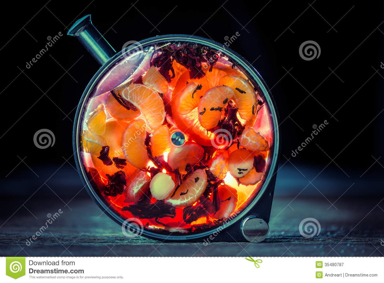 Porthole infusion bottle with alcohol infused with fruits.