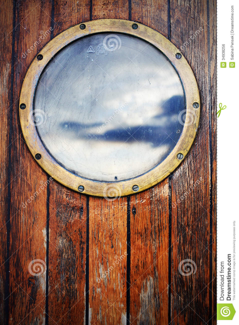 porthole ship window on wooden doors sky reflection royalty free stock image image 34938256. Black Bedroom Furniture Sets. Home Design Ideas