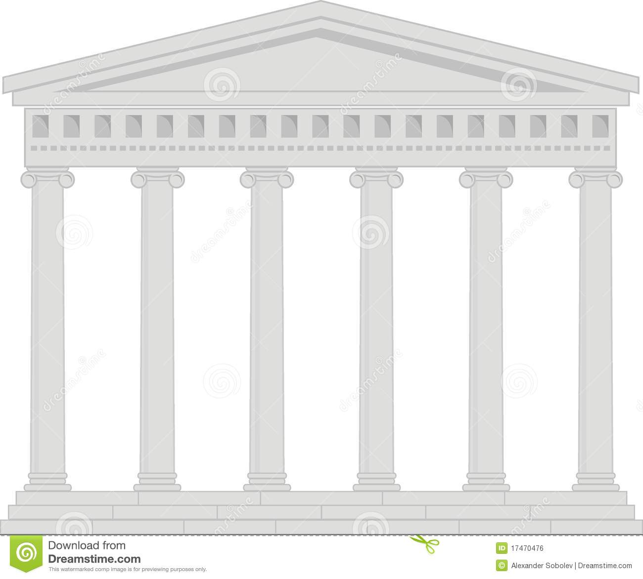 Portico Colonnade An Ancient Temple Stock Vector