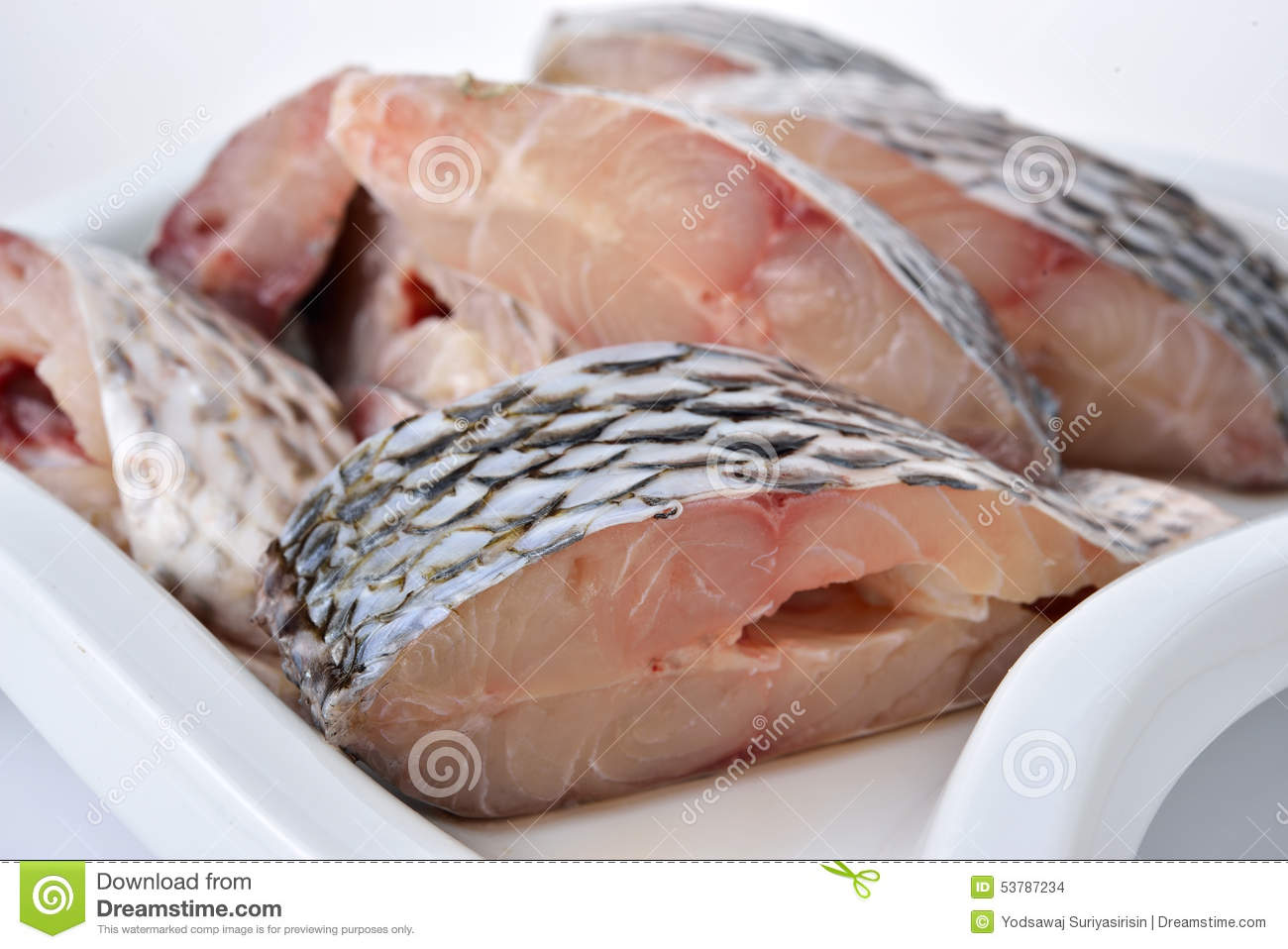 Portion cut of fresh tilapia fish stock photo image for What kind of fish is tilapia