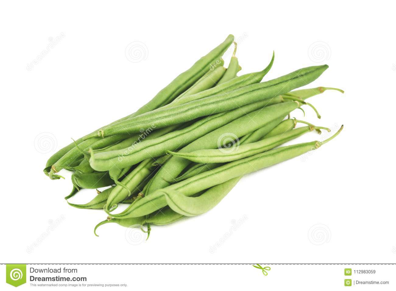 Portion of fresh green beans isolated on a white background