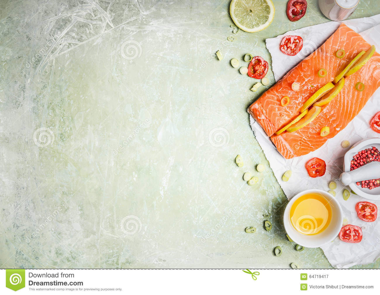 Portion Of Fresh Salmon Fillet With Lemon Slices, Oil And Ingredients For  Cooking On Light Wooden Background, Top View, Place For Text. Healthy Food  Or Diet ...