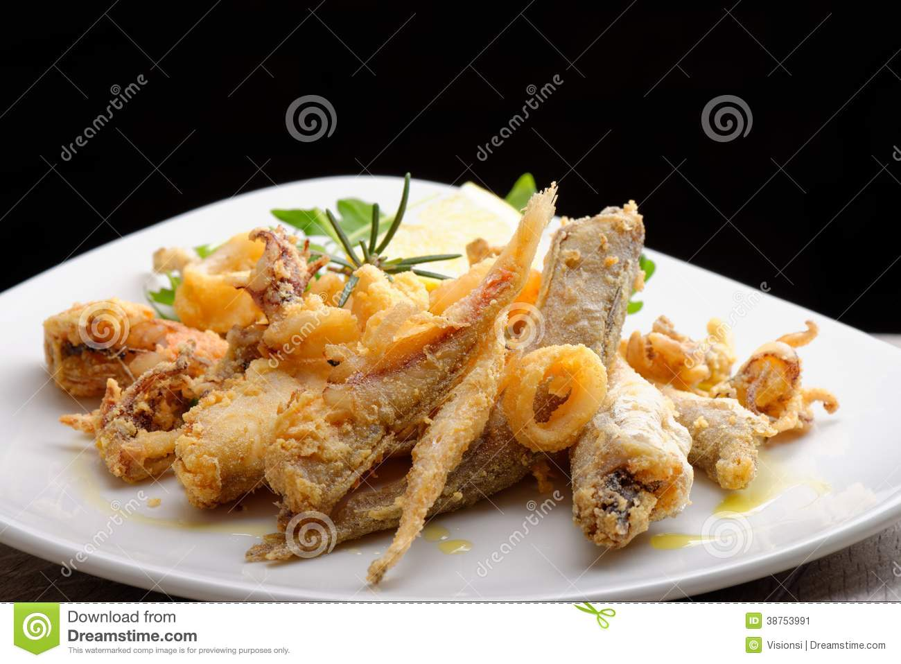 A portion of mixed fried fish stock image image 38753991 for Fried fish restaurants