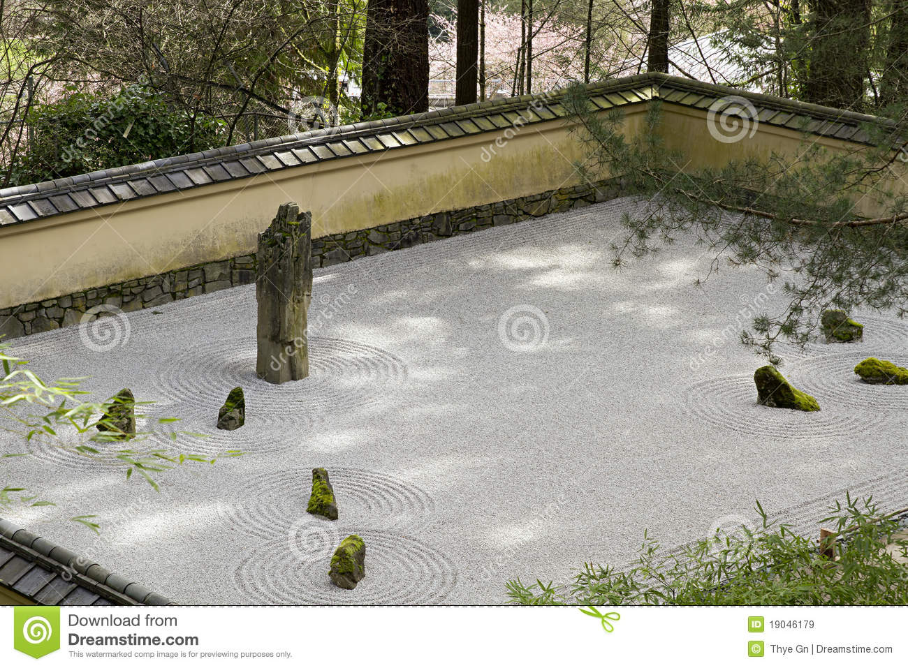 Portland japanese sand and stone garden stock image for Japanese stone garden