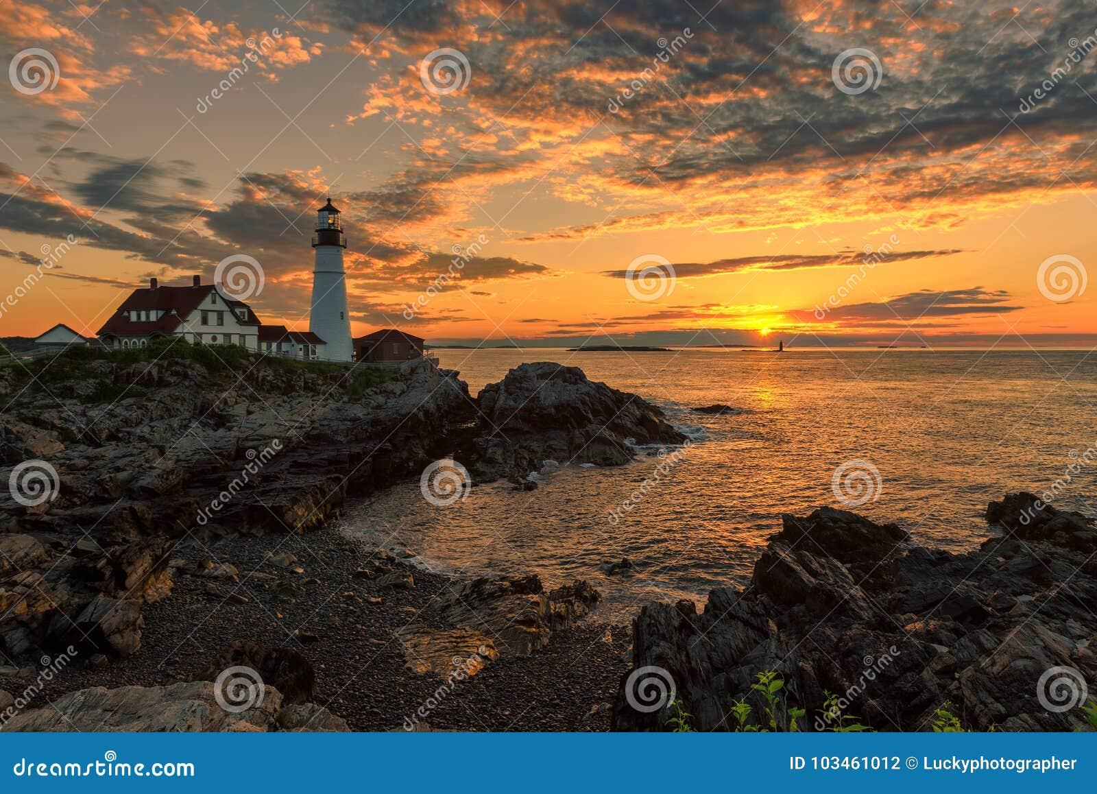 Portland Lighthouse at sunrise, Maine, USA