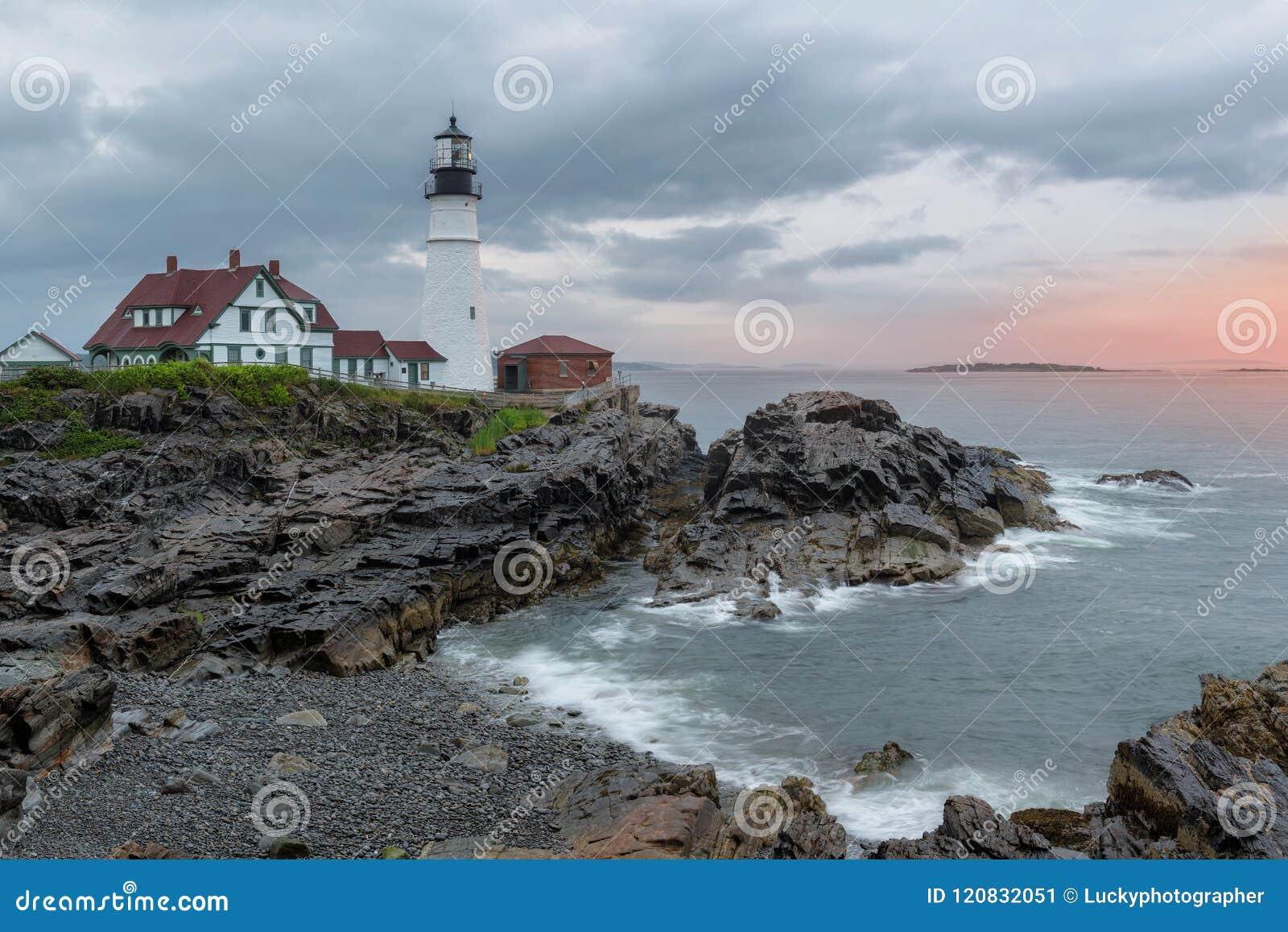 Portland Lighthouse at sunrise Maine, USA.