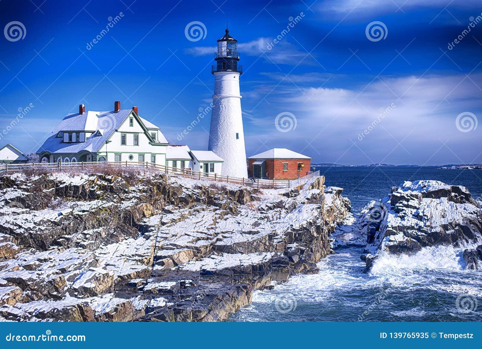 Portland Maine Headlight lighthouse wintertime