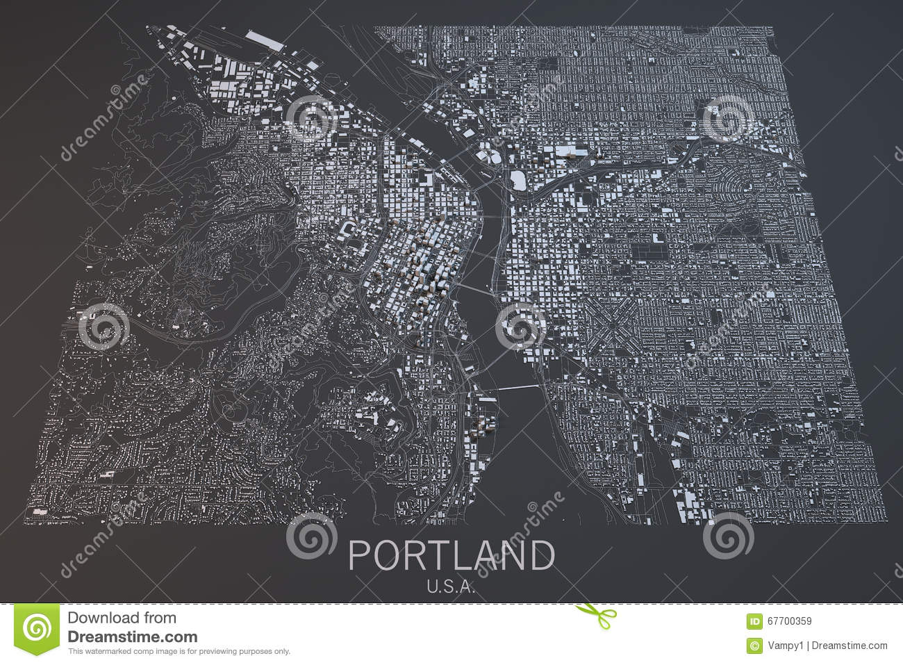 United States Map Satellite.Portland Map Satellite View United States Stock Image Image Of