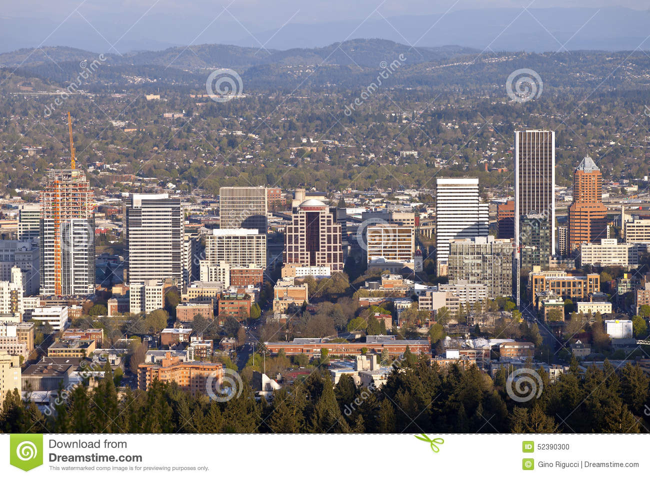 portland oregon city view at sunset stock photo image of light
