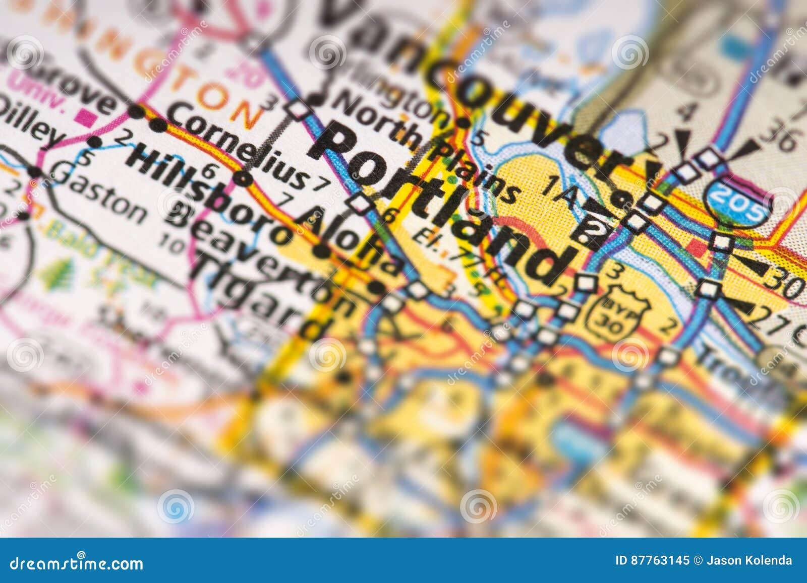 Portland, Oregon on map stock image. Image of closeup - 87763145