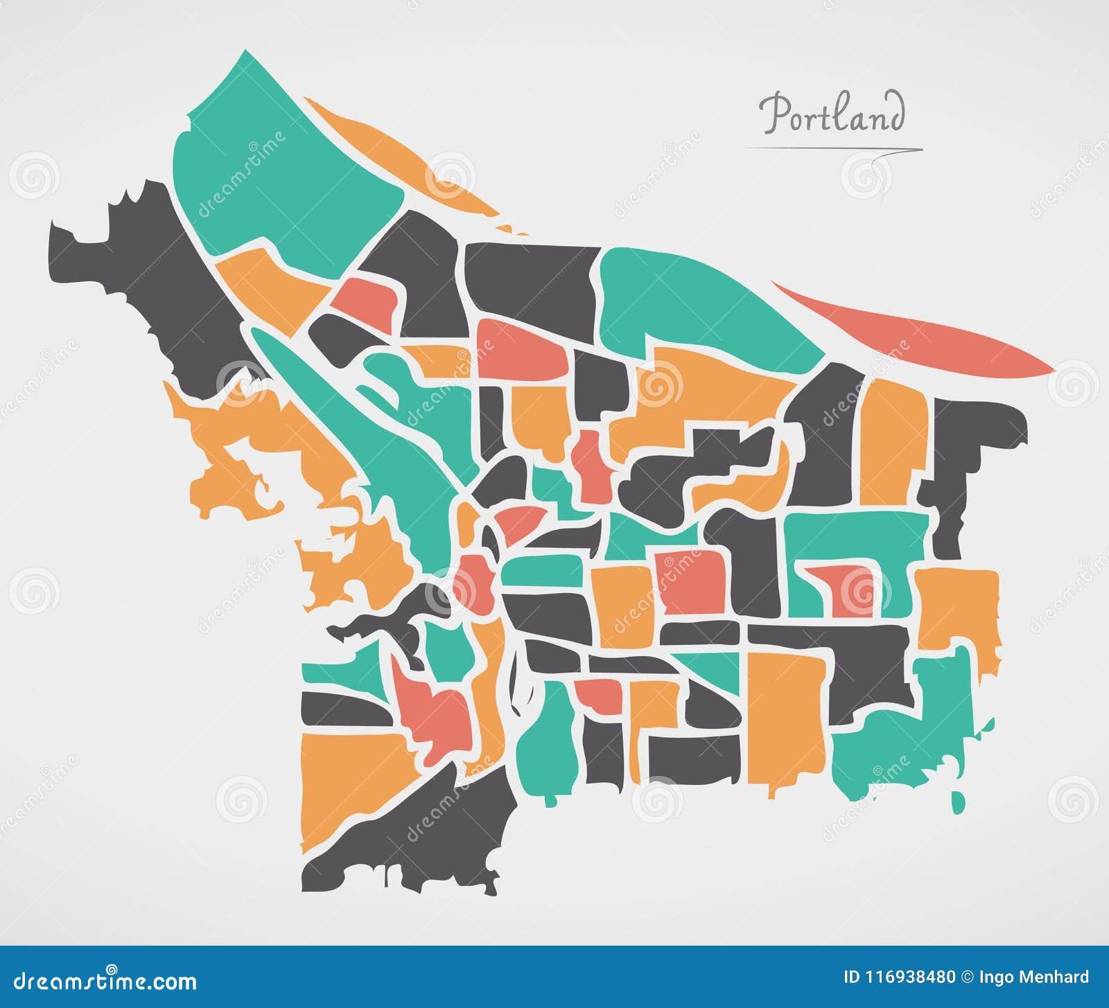 Portland Oregon Map Of Neighborhoods.Portland Oregon Map With Neighborhoods And Modern Round Shapes Stock