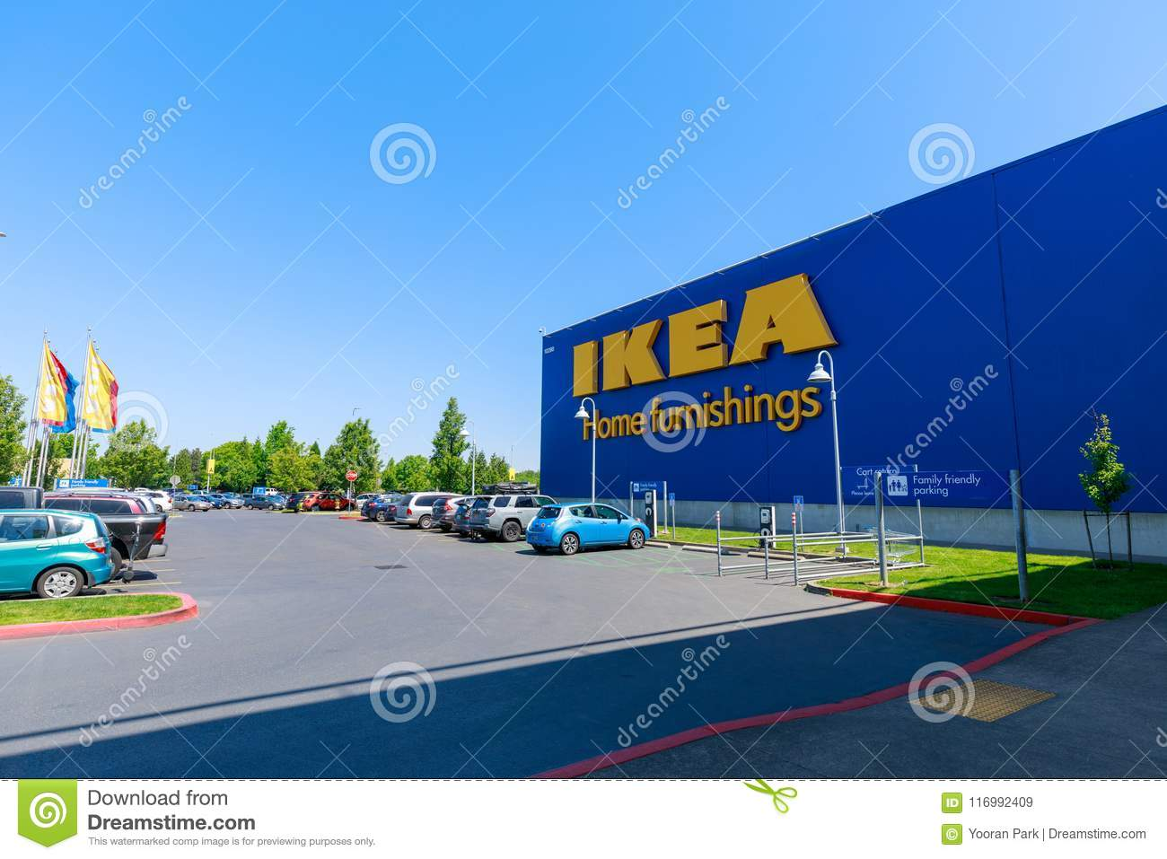 Facade of IKEA Store in Portland, Oregon. IKEA is the world s largest furniture retailer and sells ready to assemble furniture.