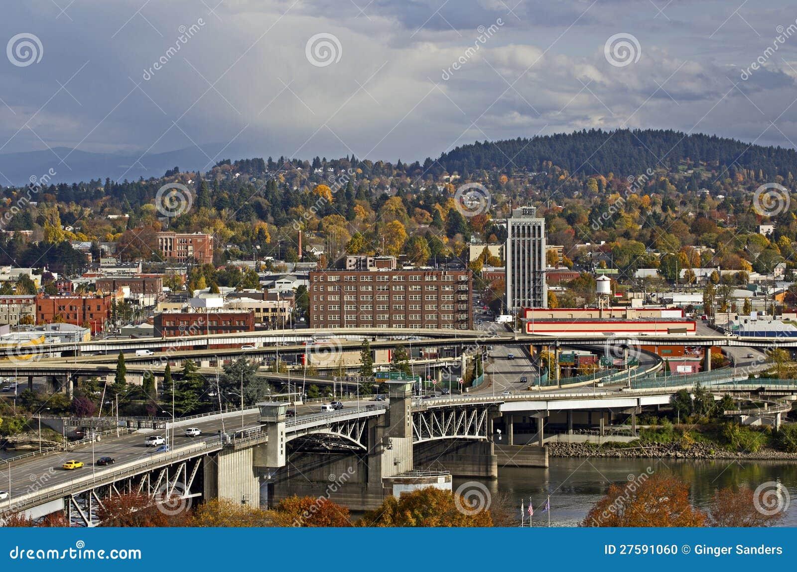 Portland Oregon Morrison Bridge And City
