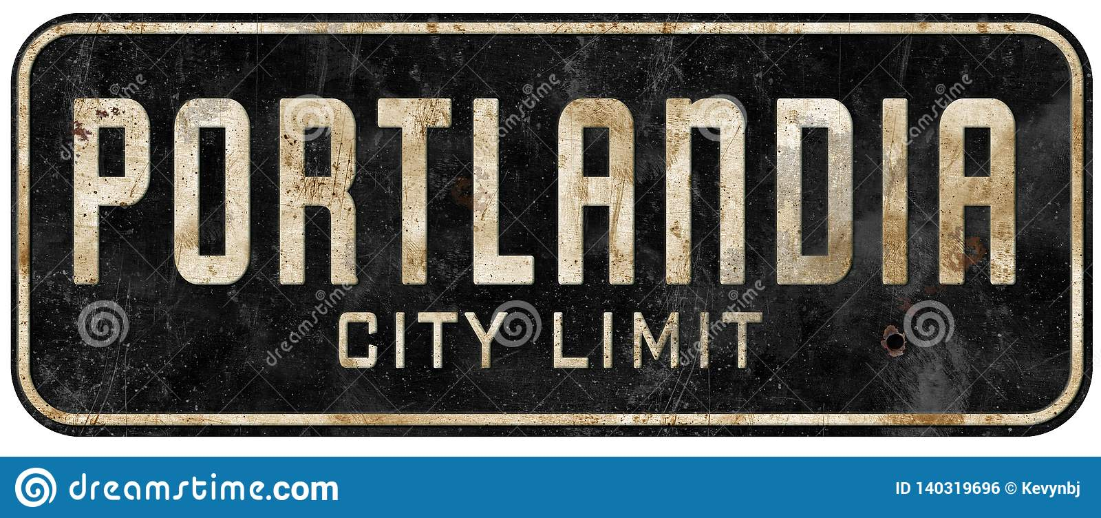 Portland Oregon Portlandia city limit sign grunge vintage