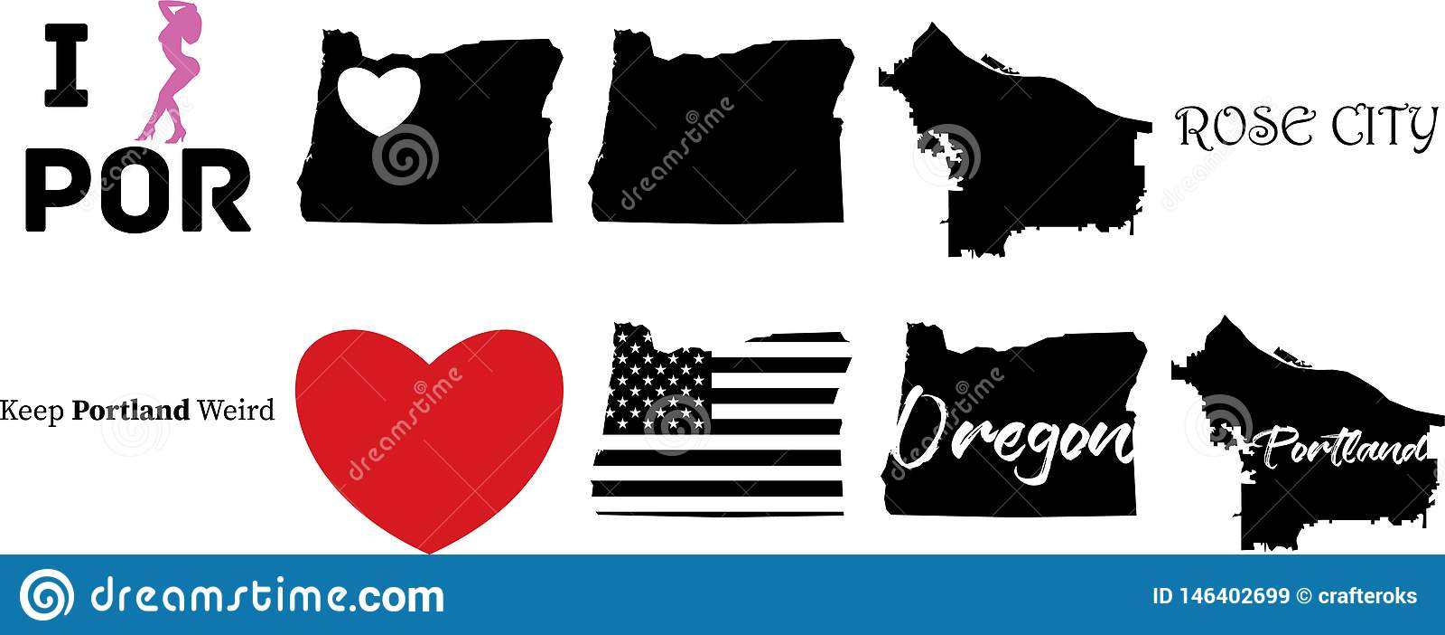 Portland Oregon US Map And The Heart Symbol Stock Vector ...