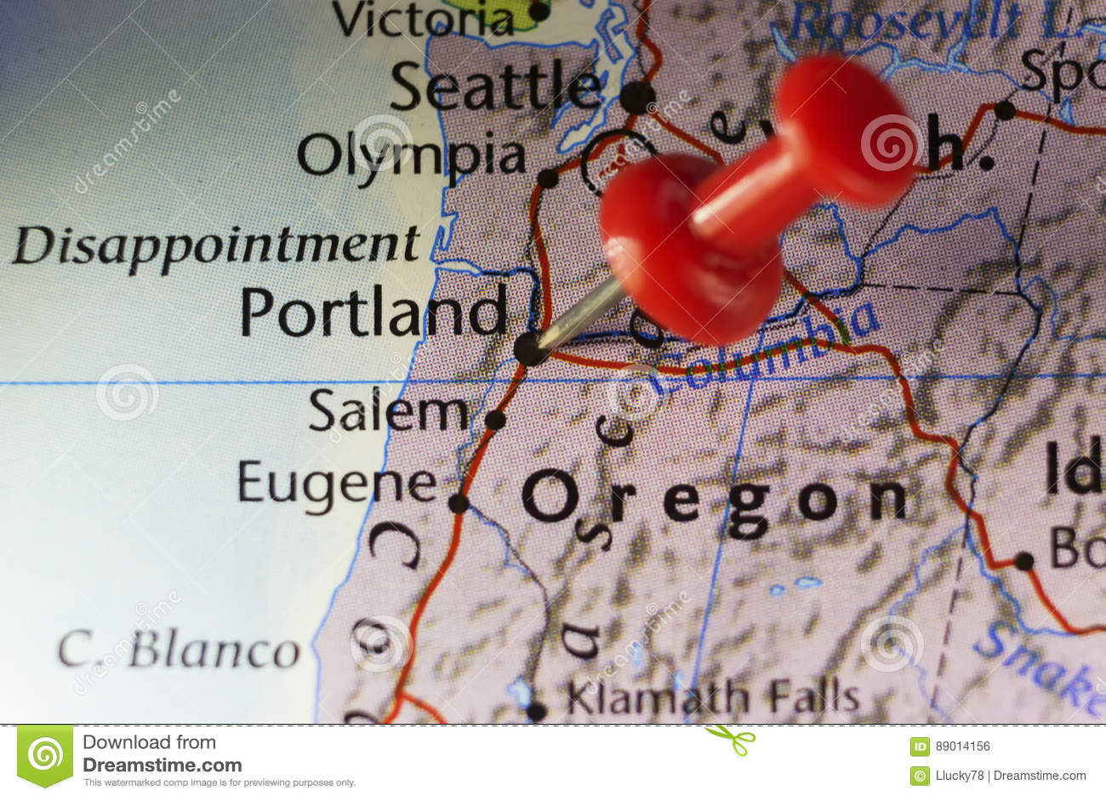 Portland Oregon USA Pinned Map Stock Illustration Image - Portland oregon on the usa map