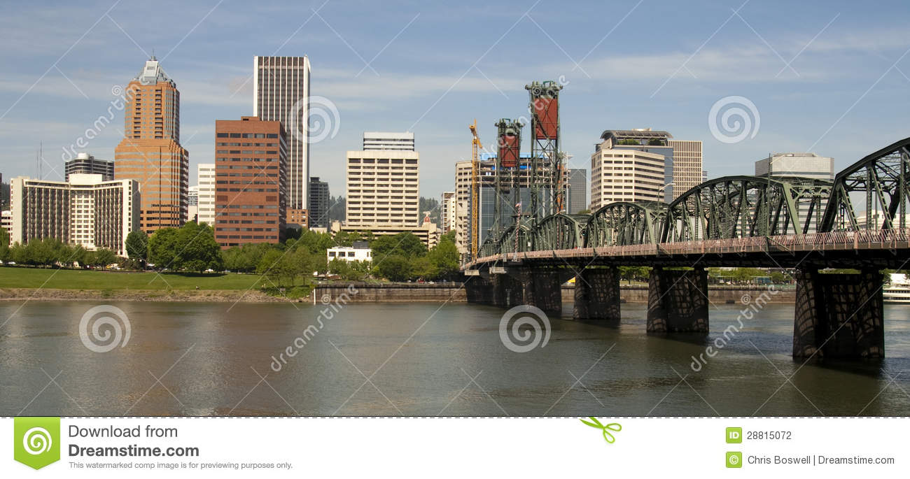 Portland Oregon View Across Willamette River to Downtown include