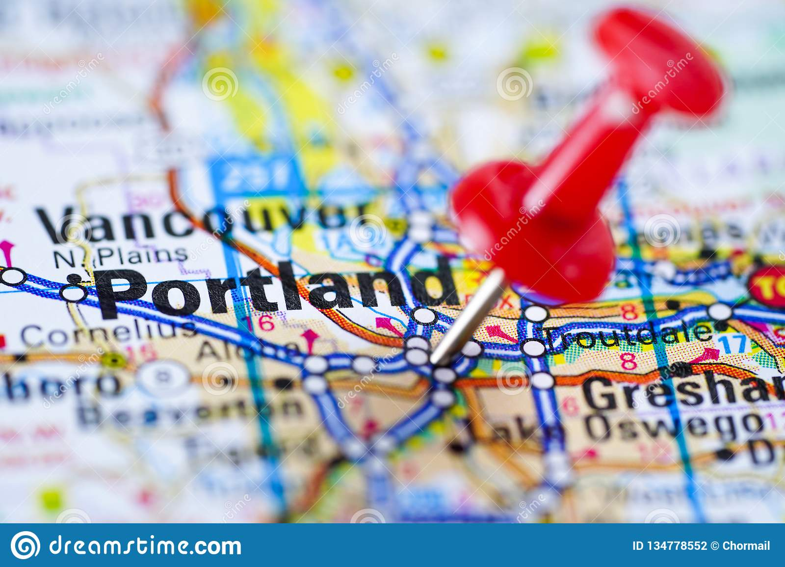 Portland Road Map With Red Pushpin, City In The United ...