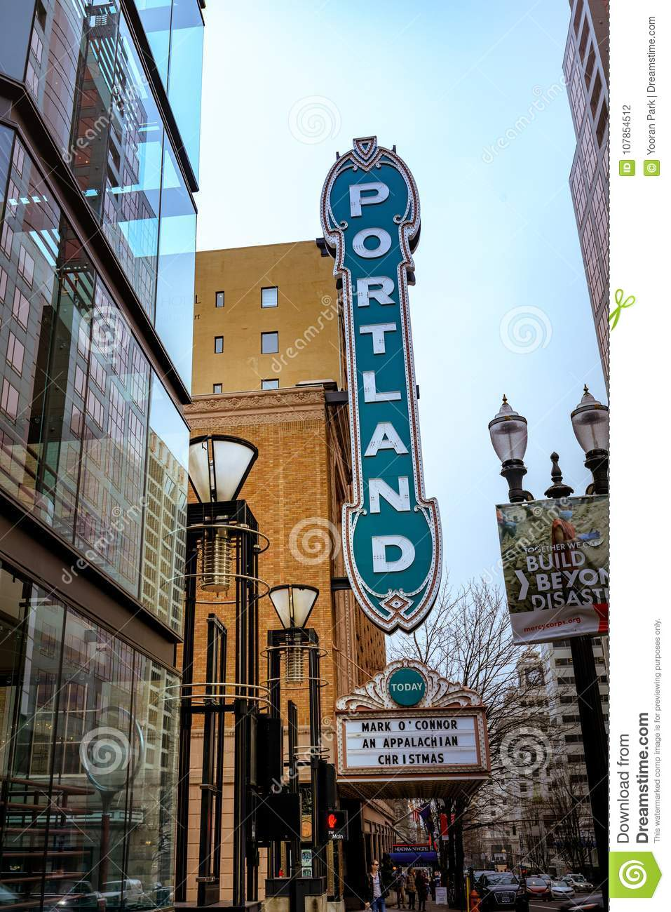 The Portland Sign On The Arlene Schnitzer Concert Hall In Oregon - Arlene schnitzer concert hall parking