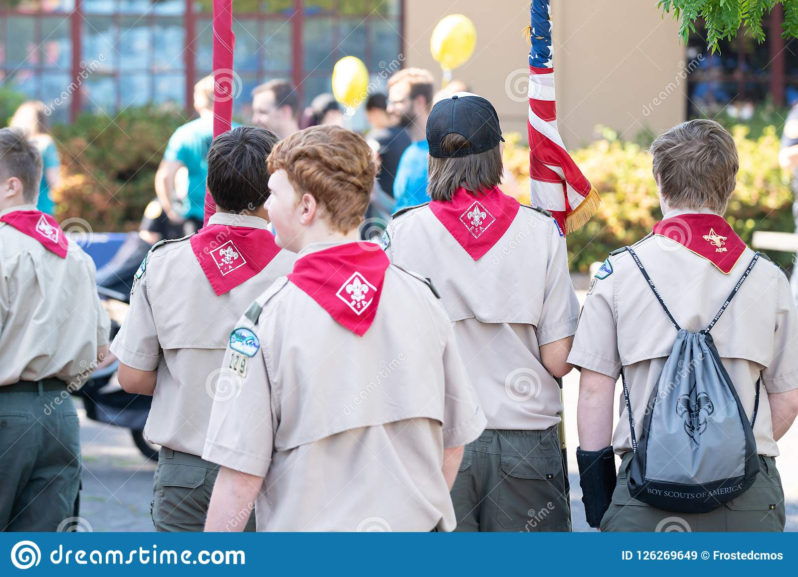 Boy scouts on the street