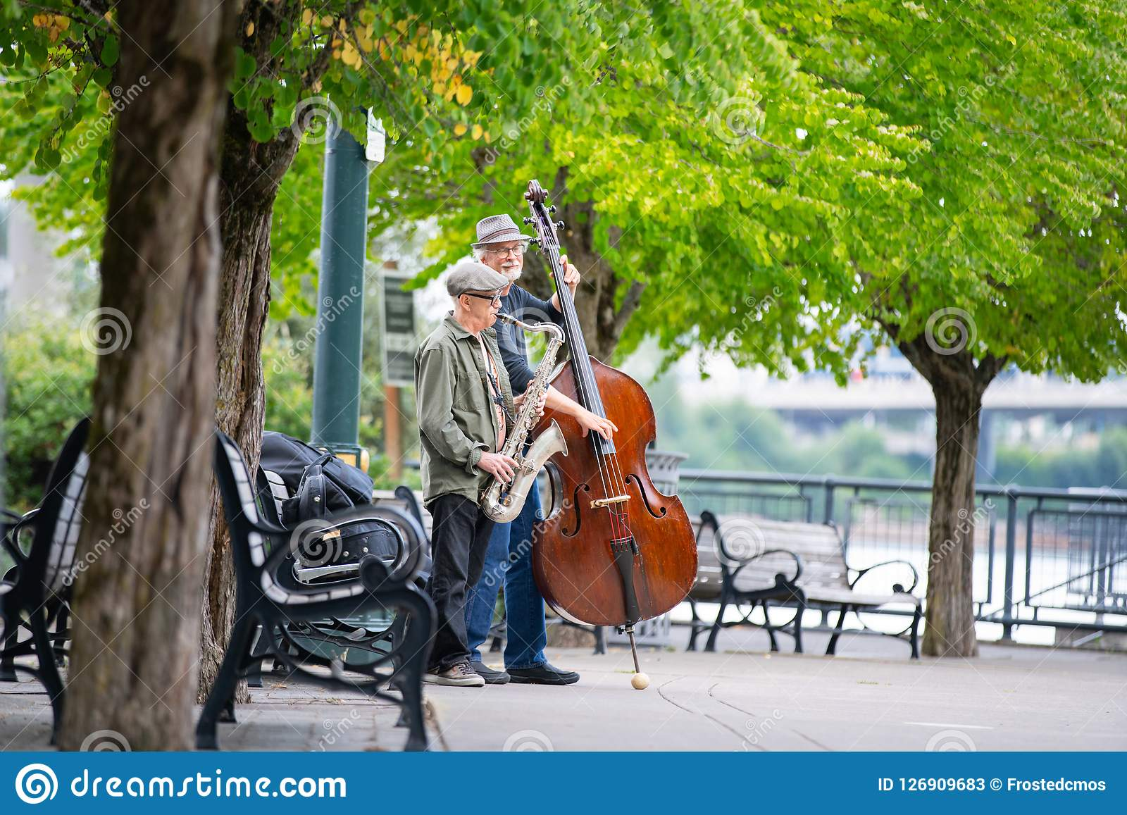 Two elderly gentlemen in a park with musical instruments.