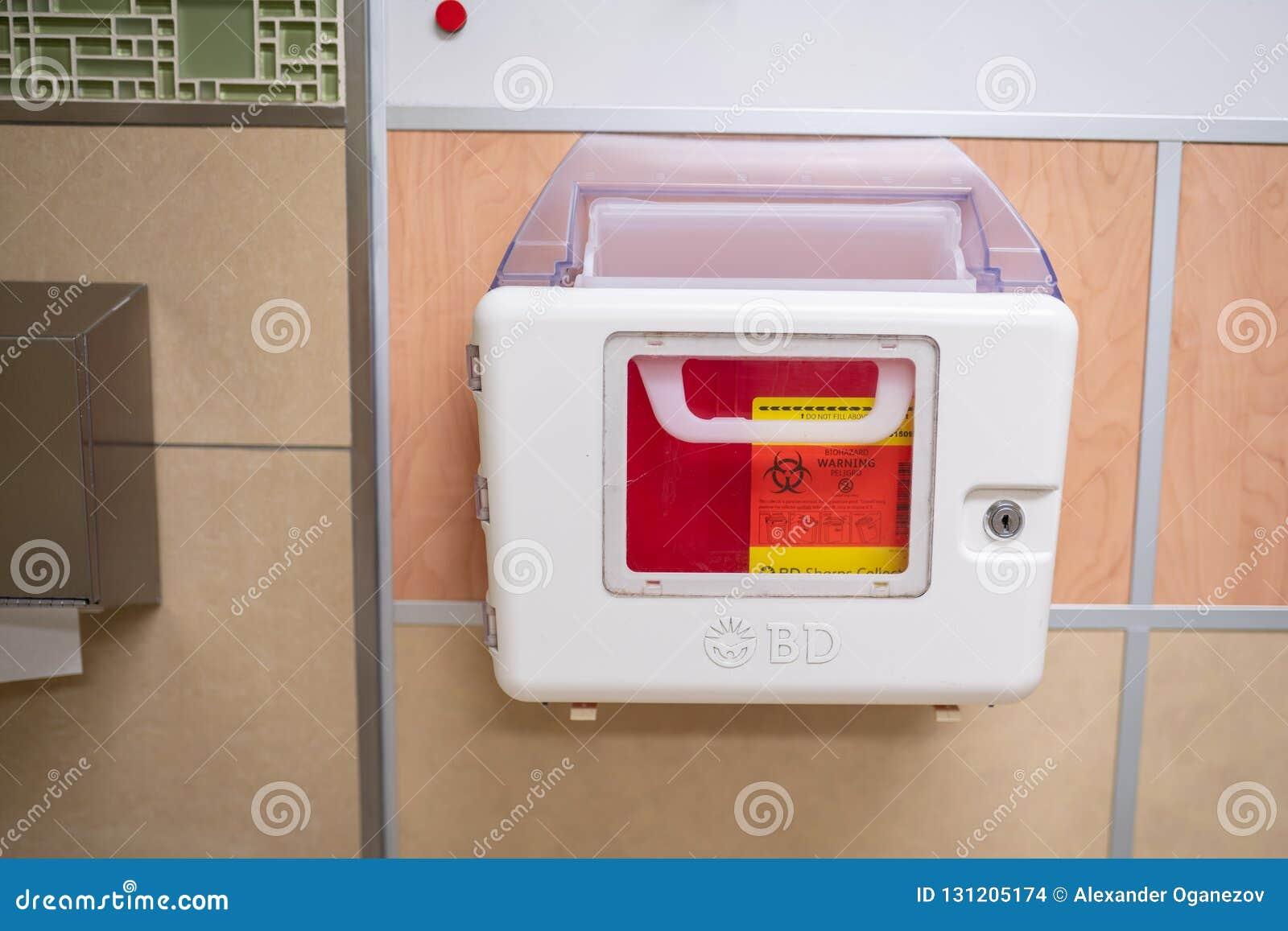 BD Recykleen Medical box for disposal of needles.