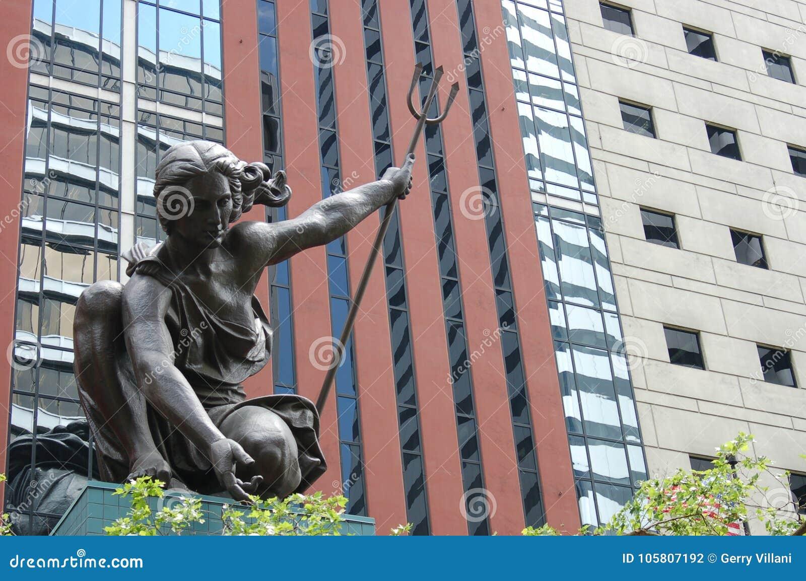 `Portlandia` statue in downtown, Portland, Oregon