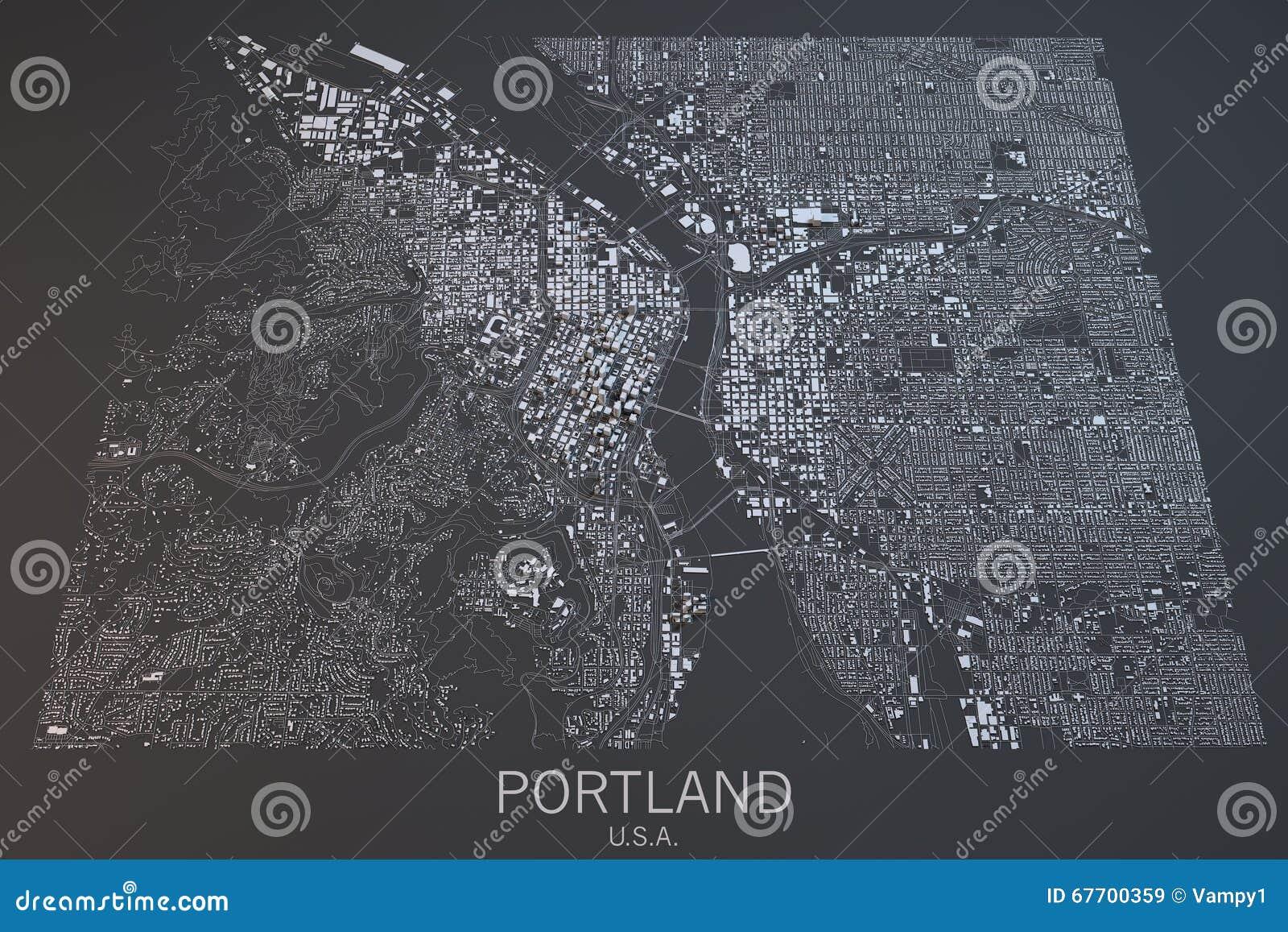Portlandzka mapa, satelitarny widok, Stany Zjednoczone
