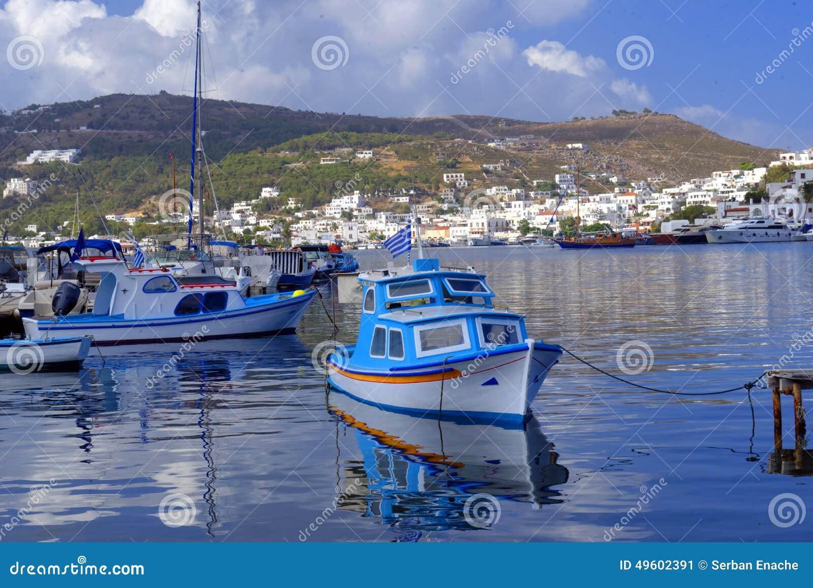 Porto de Skala na ilha de Patmos
