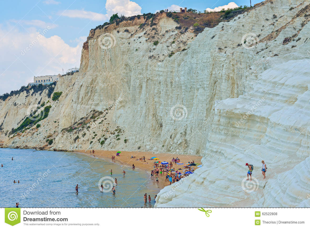 Porto Empedocle Italy  city pictures gallery : PORTO EMPEDOCLE, ITALY AUGUST, 2015: Some tourists in the beach ...