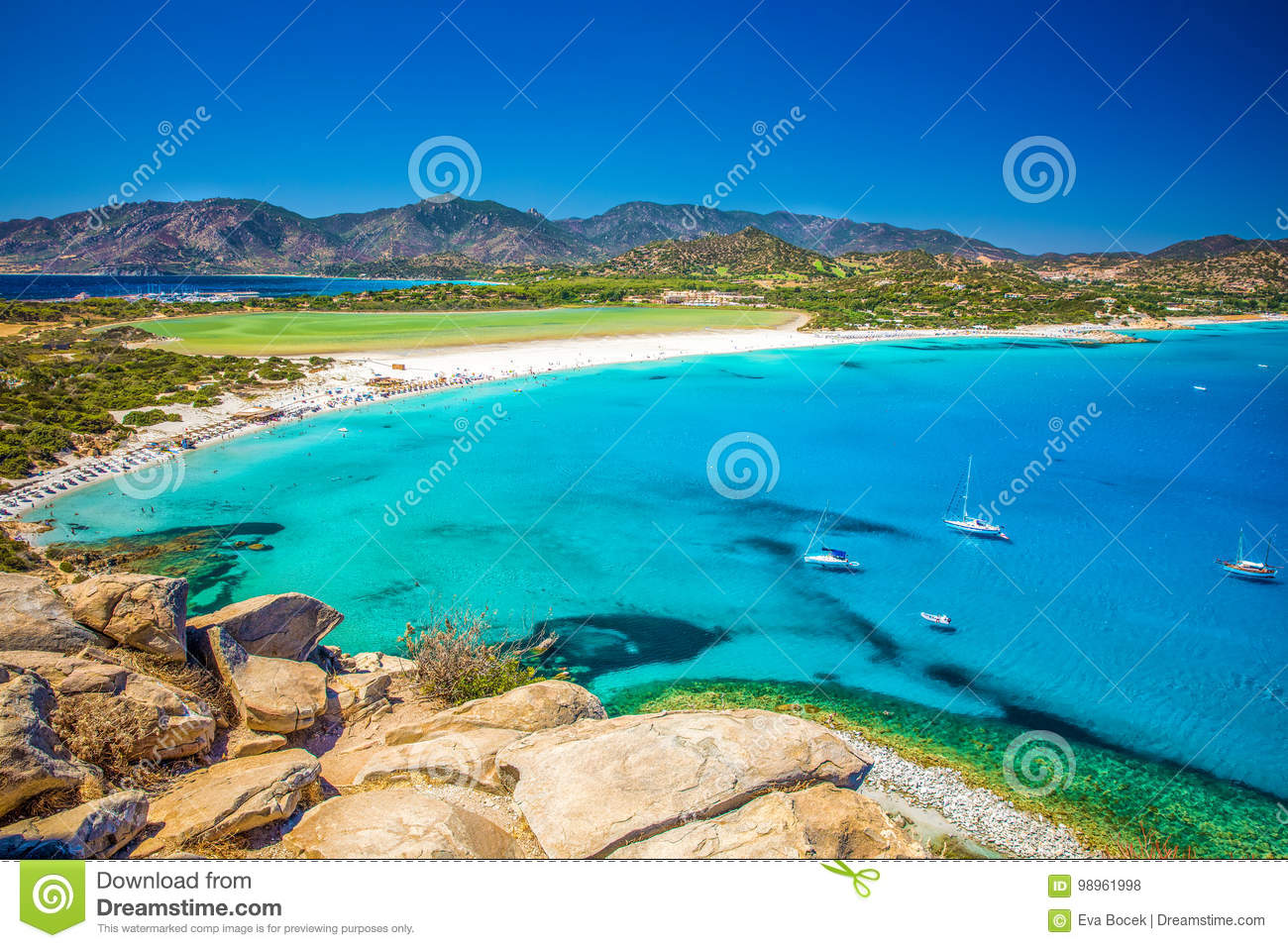 Porto Giunco Beach Villasimius Sardinia Italy Stock Photo Image