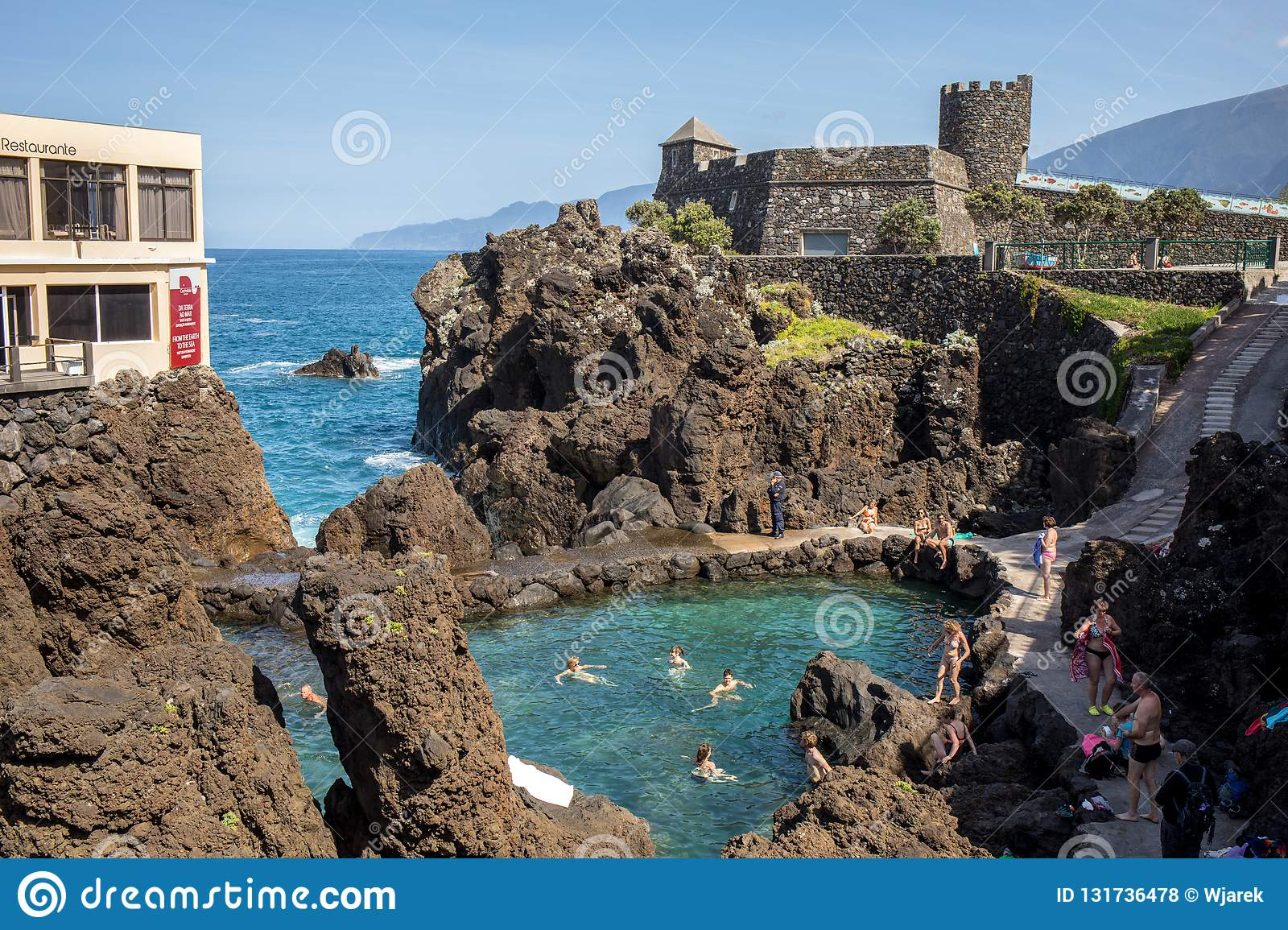 Natural Rock Pool Of Porto Moniz On Madeira Island Portugal It