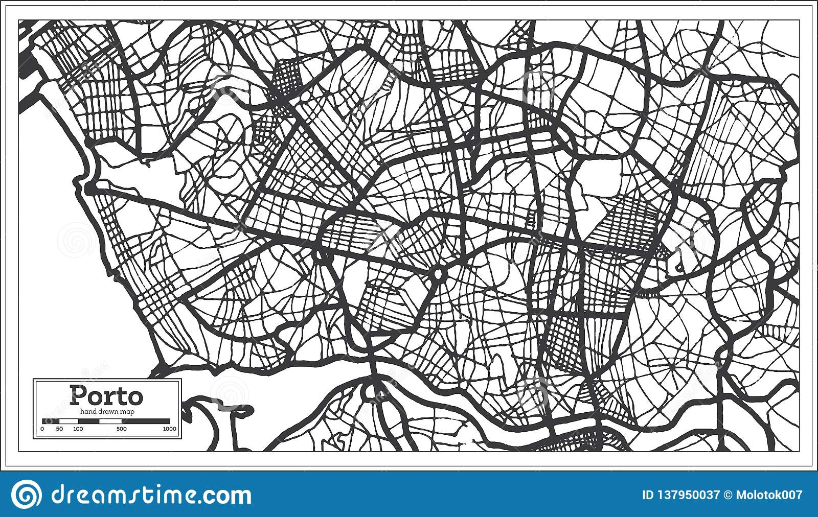Porto Portugal City Map In Retro Style Outline Map Stock Vector