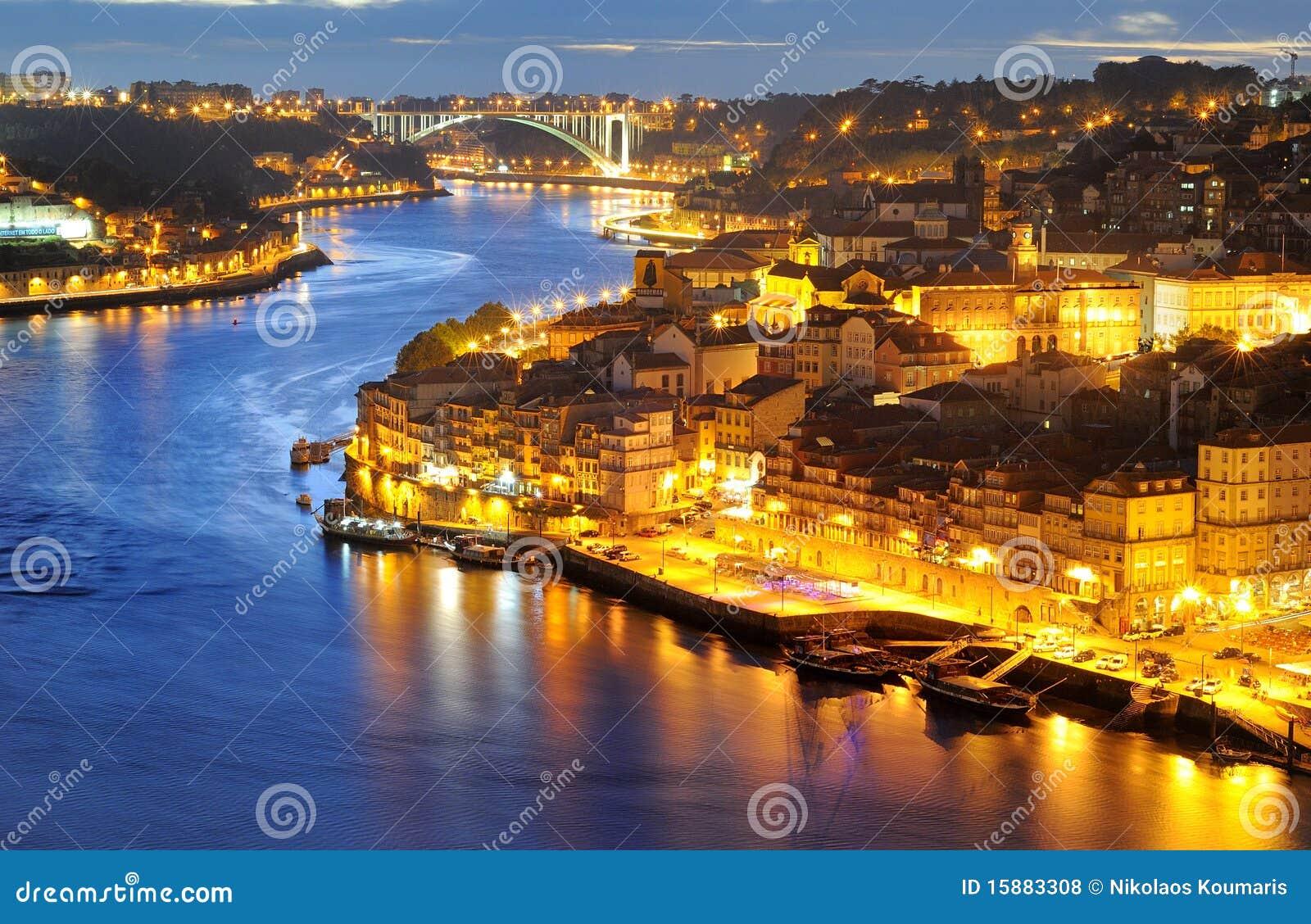 Porto Portugal At Night Royalty Free Stock Photos Image