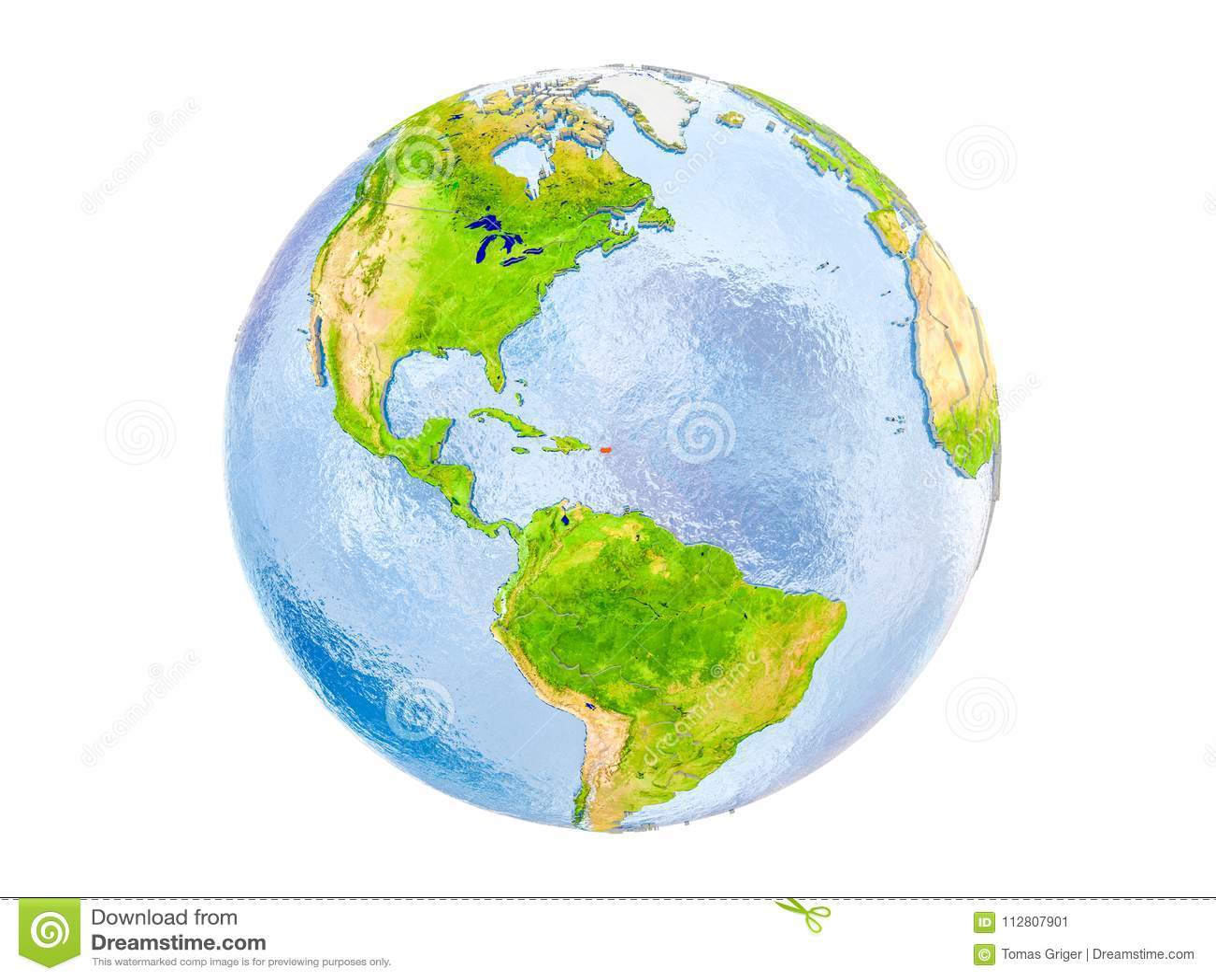 Porto Rico no globo isolado