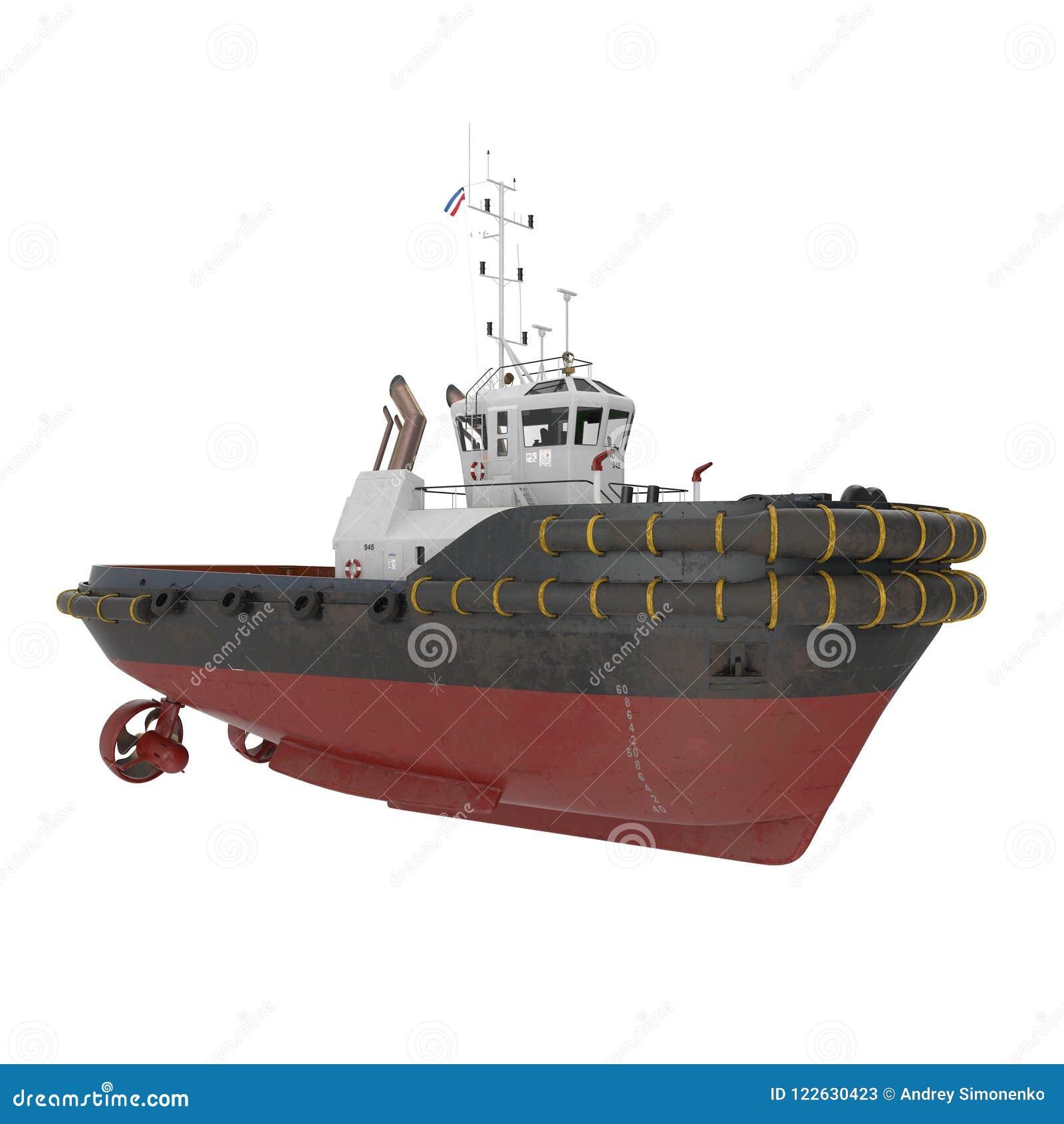 Porto Tug Boat no branco ilustração 3D