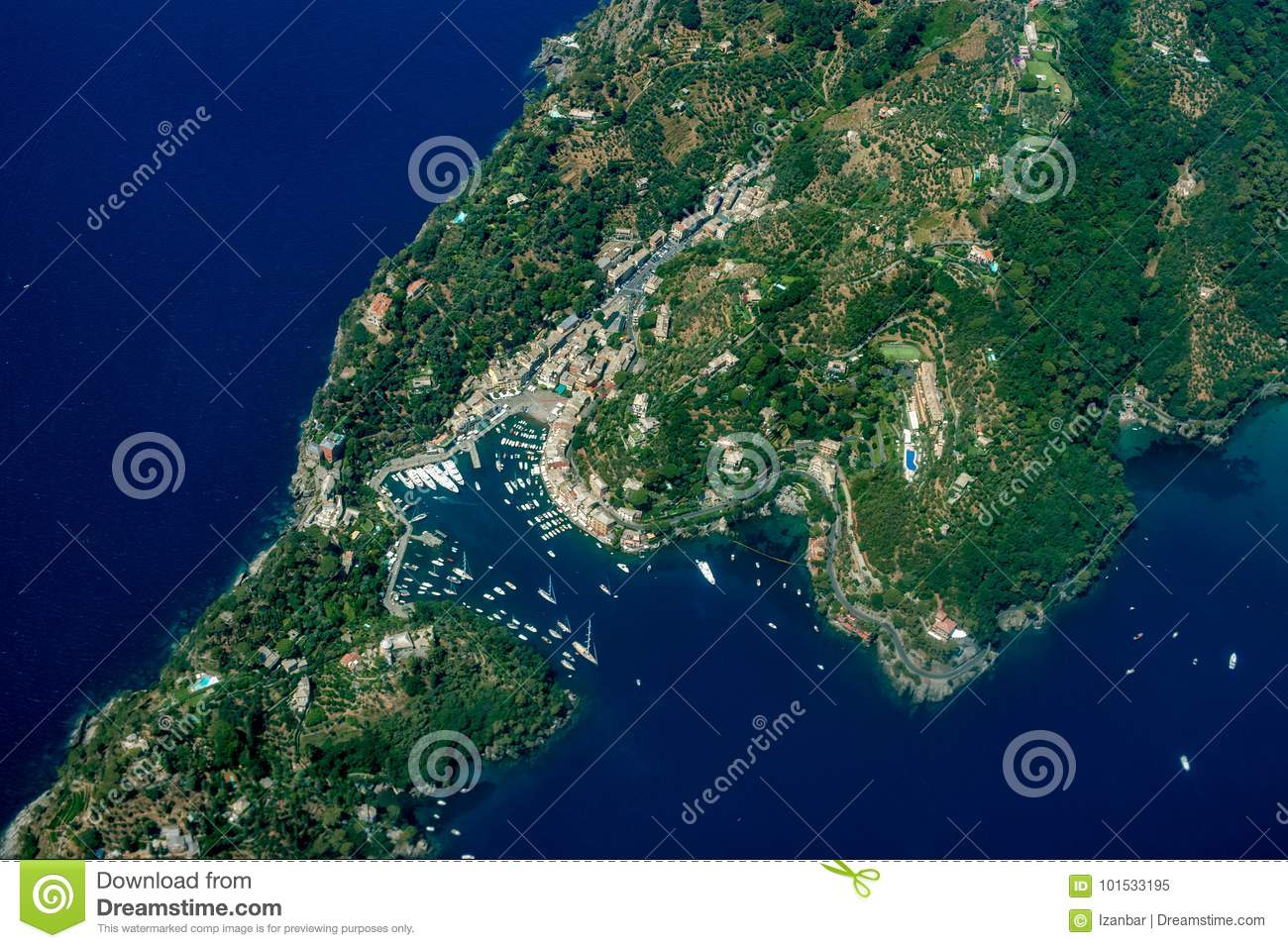 Portofino Italy Aerial View From Airplane Stock Image