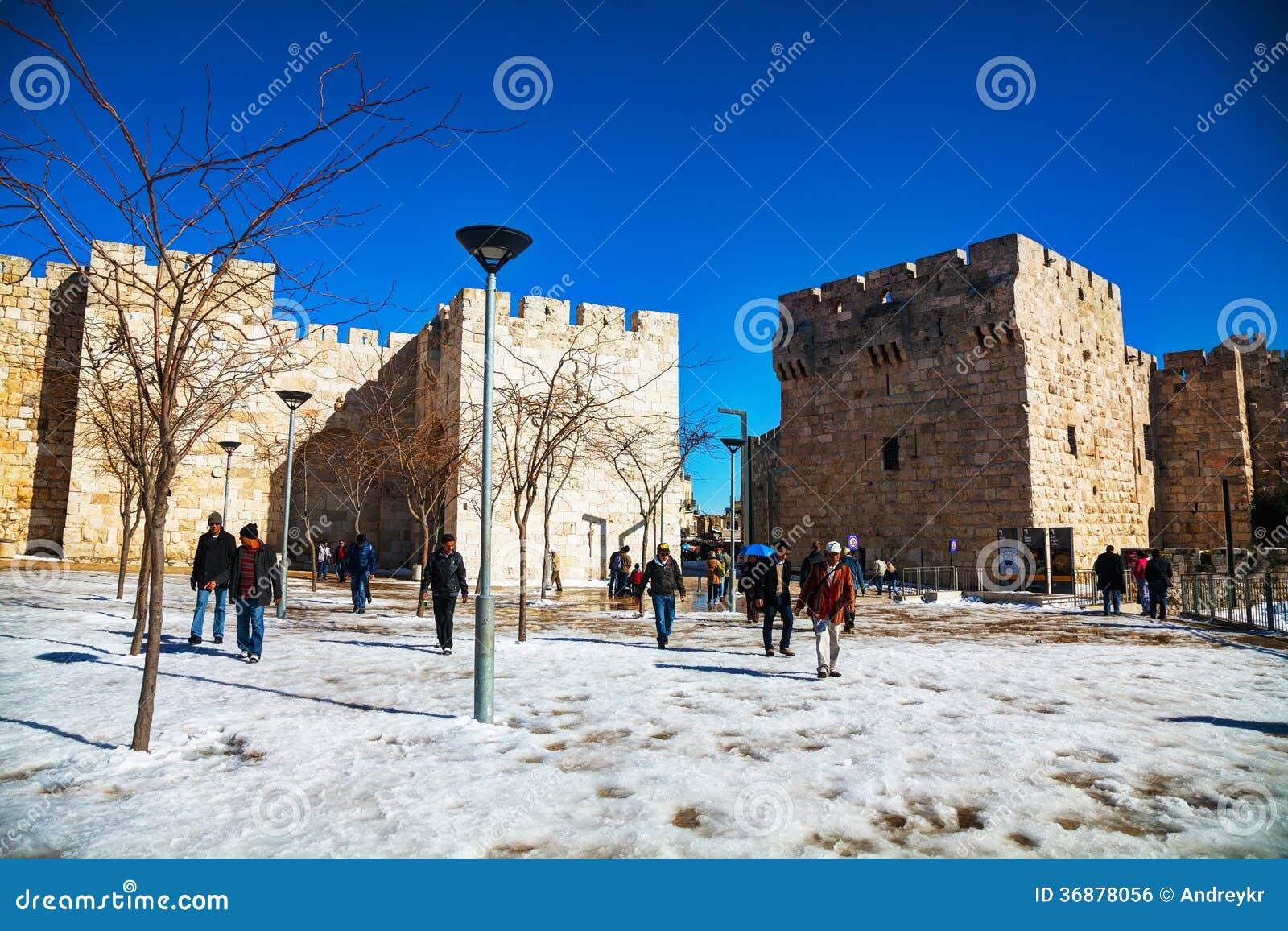 Download Portone Di Giaffa A Gerusalemme Dopo Una Tempesta Della Neve Fotografia Editoriale - Immagine di religione, santo: 36878056